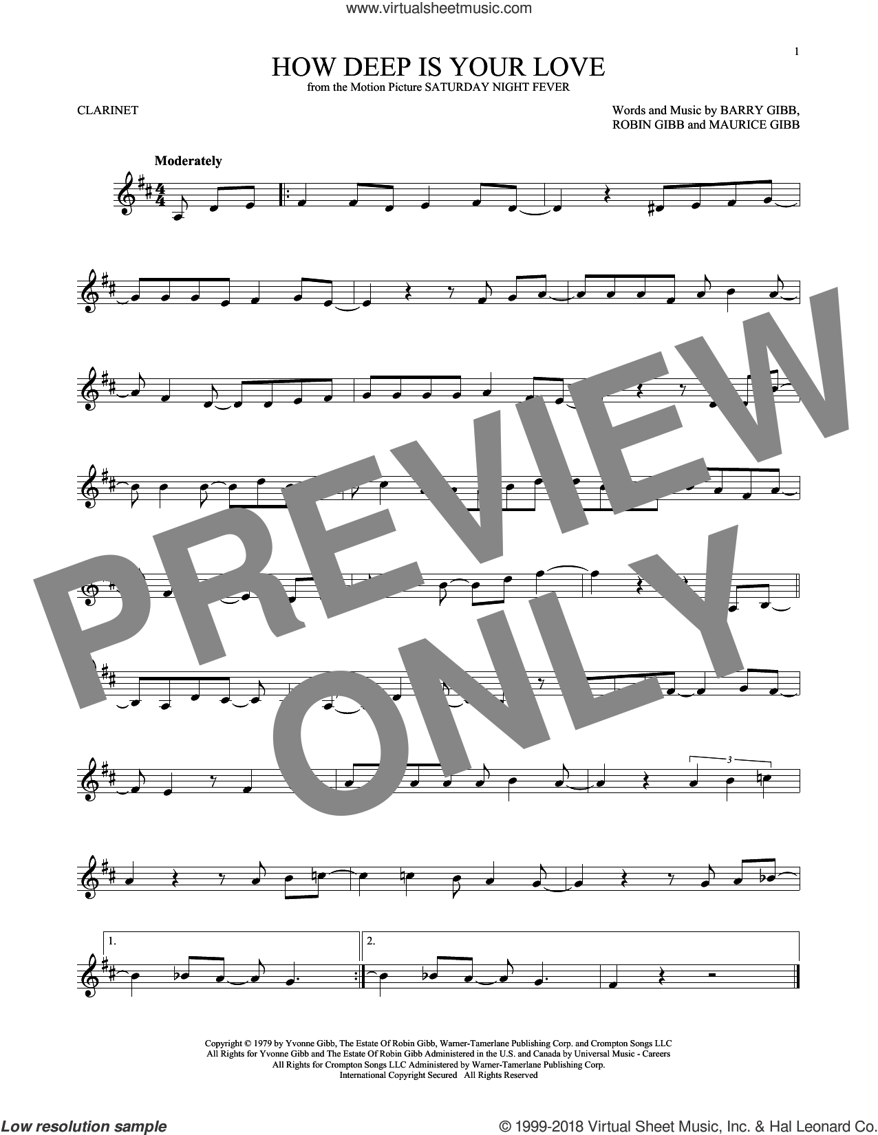 How Deep Is Your Love sheet music for clarinet solo by Bee Gees, Barry Gibb, Maurice Gibb and Robin Gibb, intermediate skill level