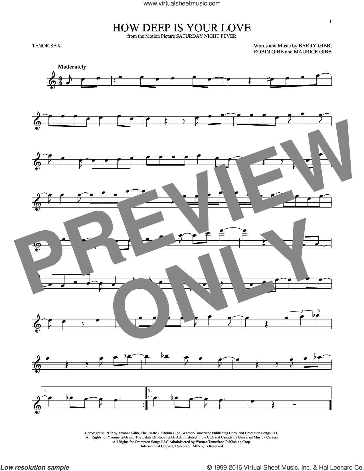 How Deep Is Your Love sheet music for tenor saxophone solo by Barry Gibb, Bee Gees, Maurice Gibb and Robin Gibb, intermediate skill level