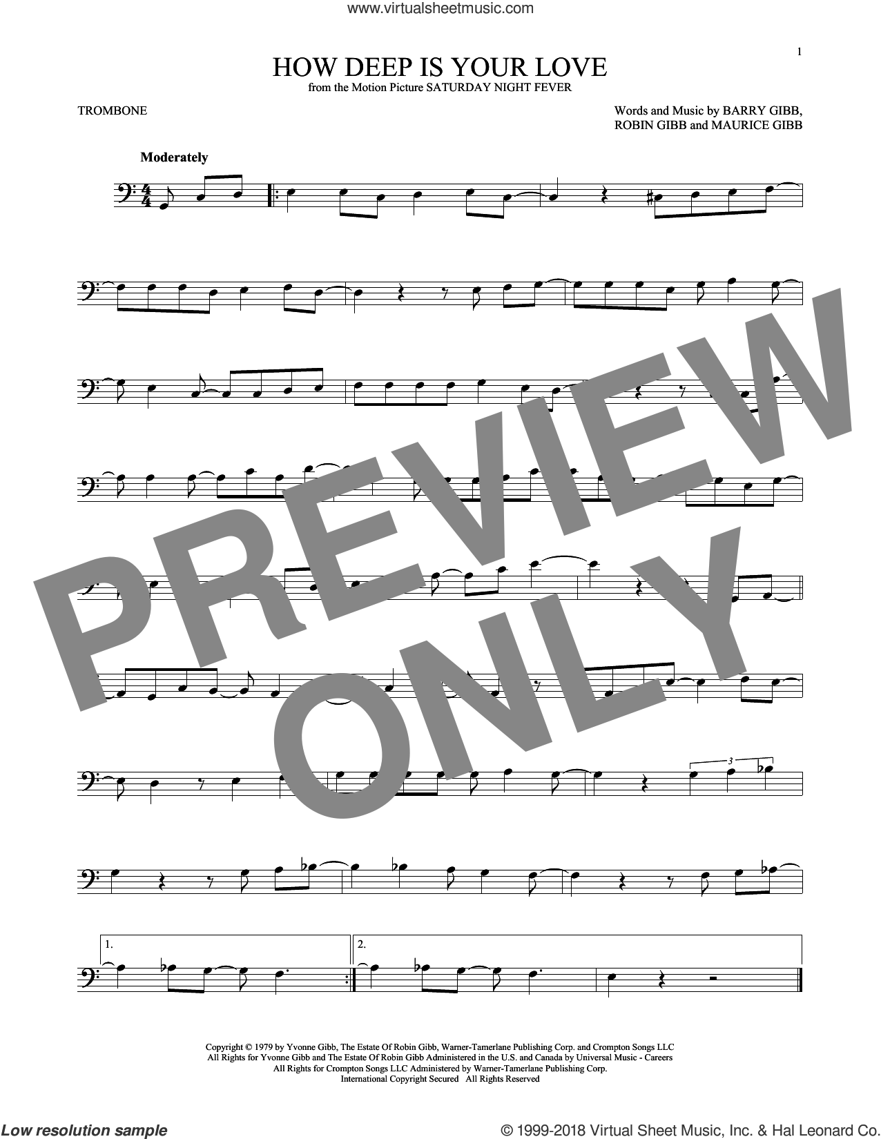How Deep Is Your Love sheet music for trombone solo by Barry Gibb, Bee Gees, Maurice Gibb and Robin Gibb, intermediate skill level