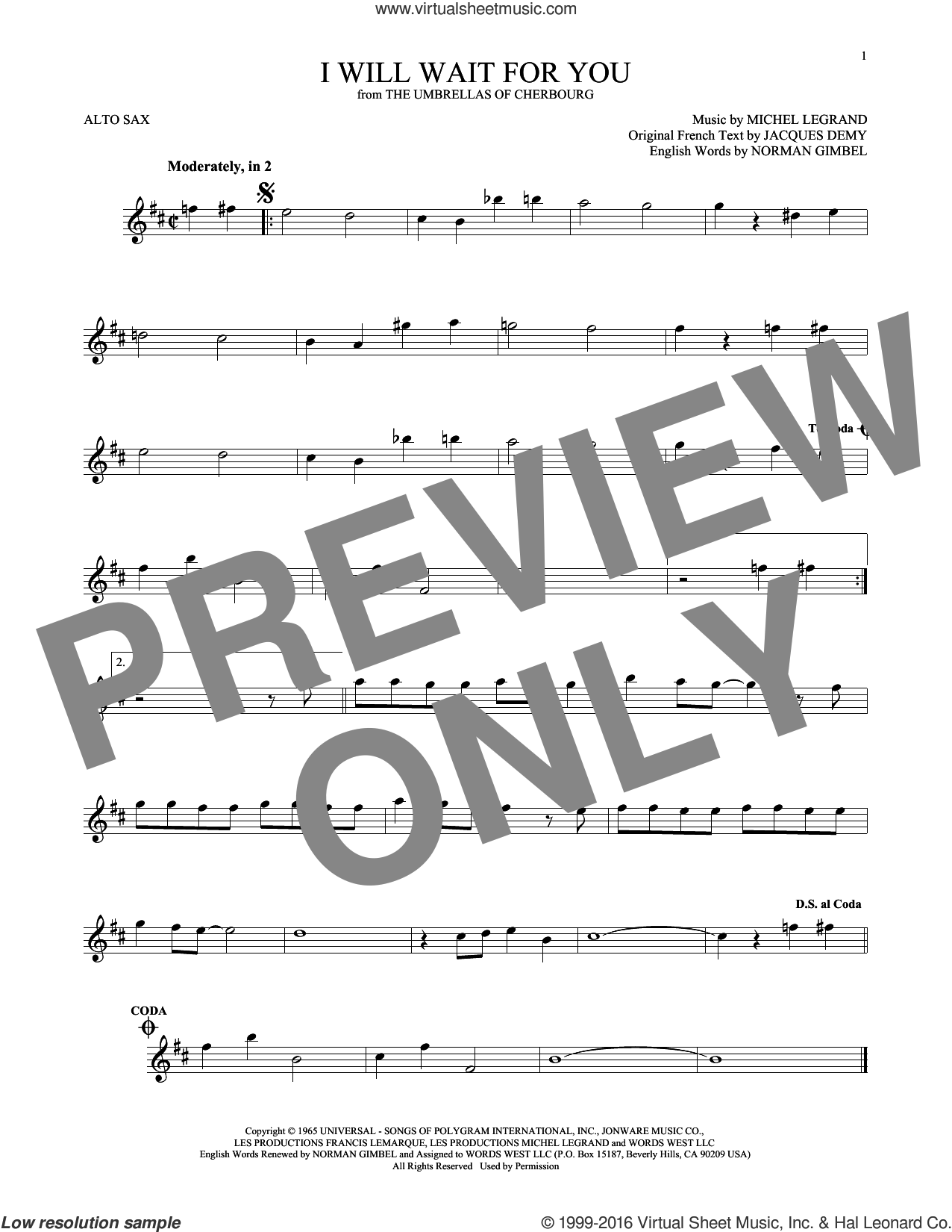 I Will Wait For You sheet music for alto saxophone solo by Michel Legrand, Jacques Demy and Norman Gimbel, intermediate skill level