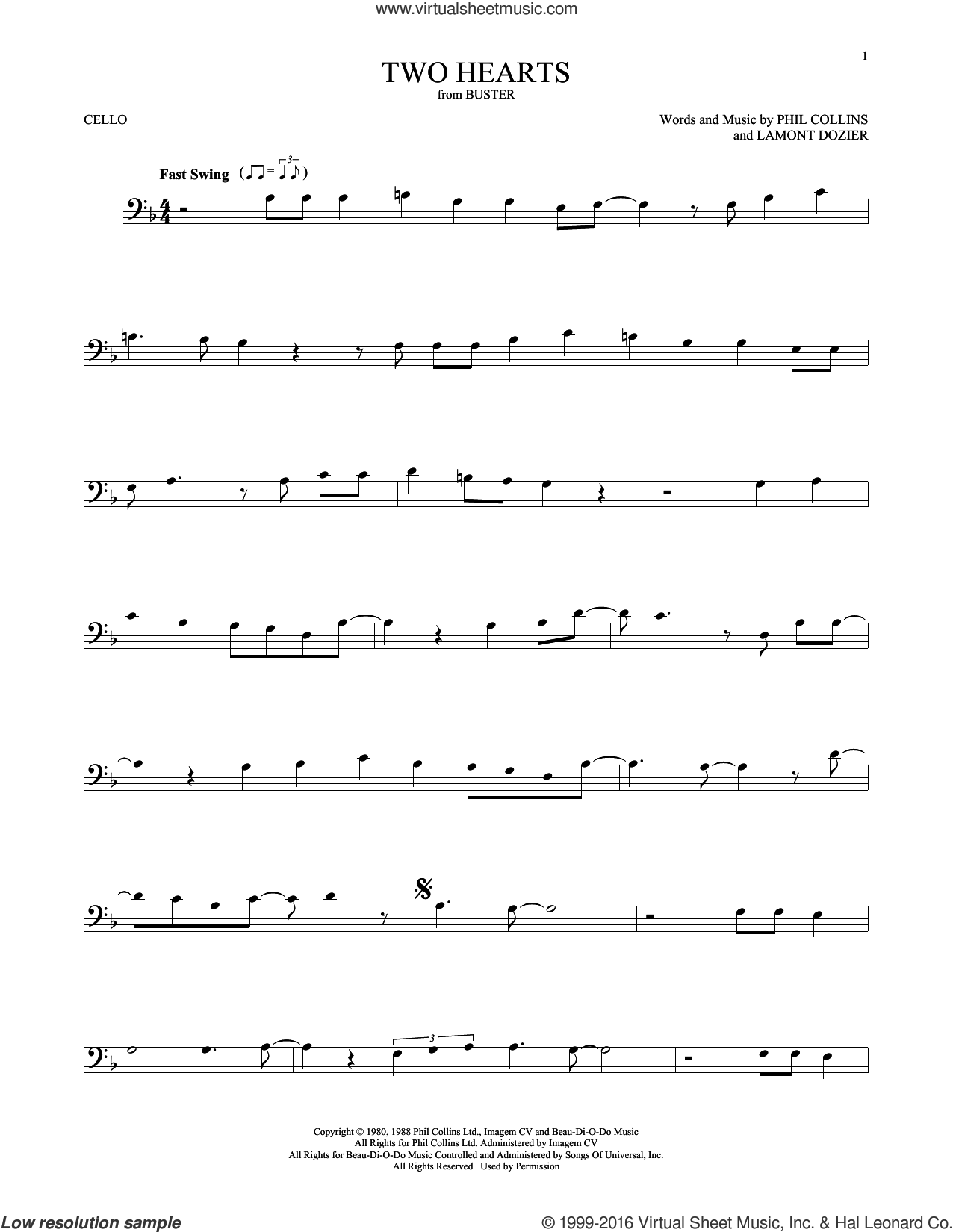 Two Hearts sheet music for cello solo by Lamont Dozier and Phil Collins. Score Image Preview.