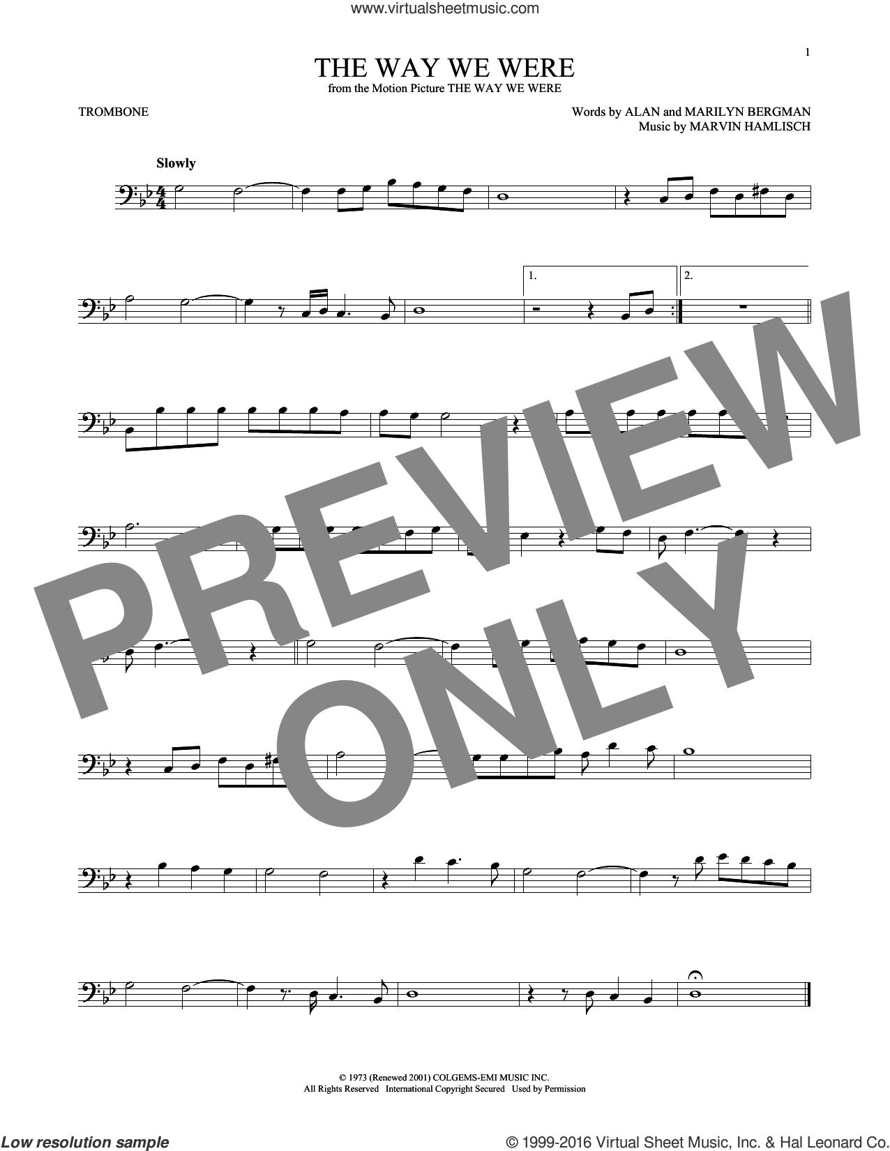 The Way We Were sheet music for trombone solo by Barbra Streisand, Alan Bergman, Marilyn Bergman and Marvin Hamlisch, intermediate trombone. Score Image Preview.
