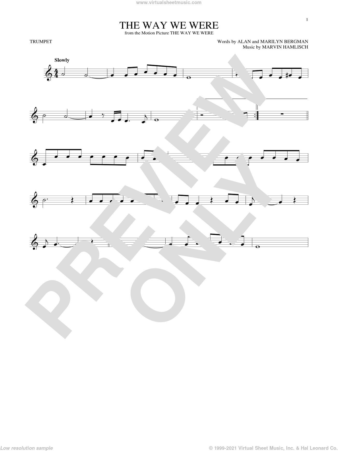 The Way We Were sheet music for trumpet solo by Marvin Hamlisch, Barbra Streisand, Alan Bergman and Marilyn Bergman. Score Image Preview.