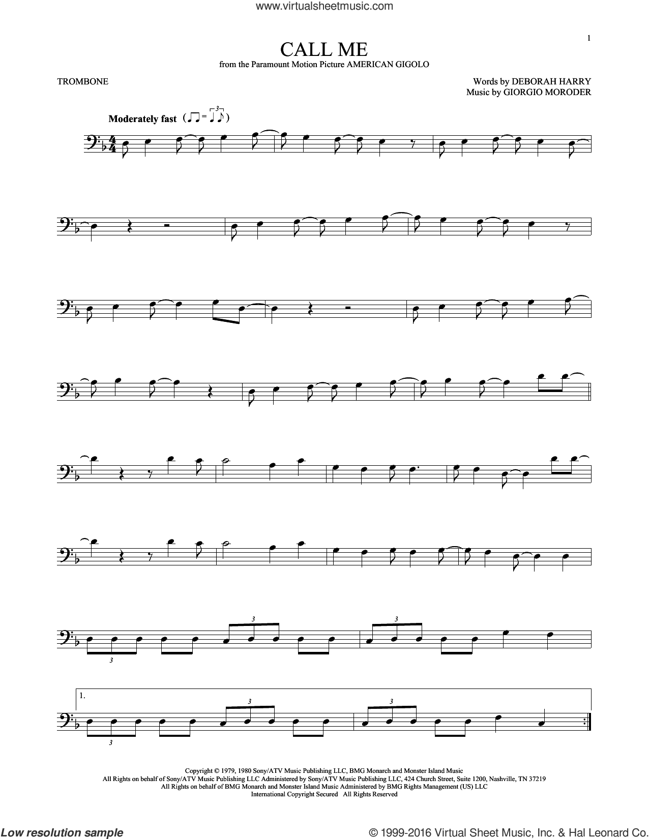 Call Me sheet music for trombone solo by Blondie, Deborah Harry and Giorgio Moroder, intermediate skill level