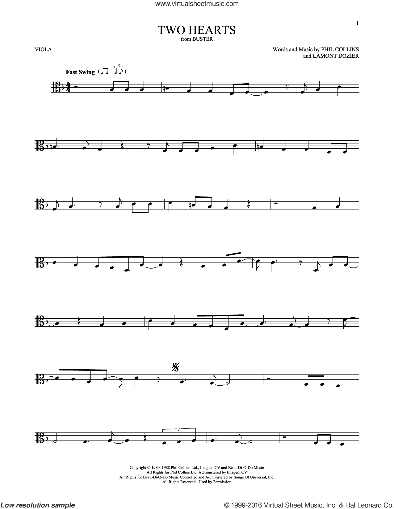 Two Hearts sheet music for viola solo by Phil Collins and Lamont Dozier, intermediate