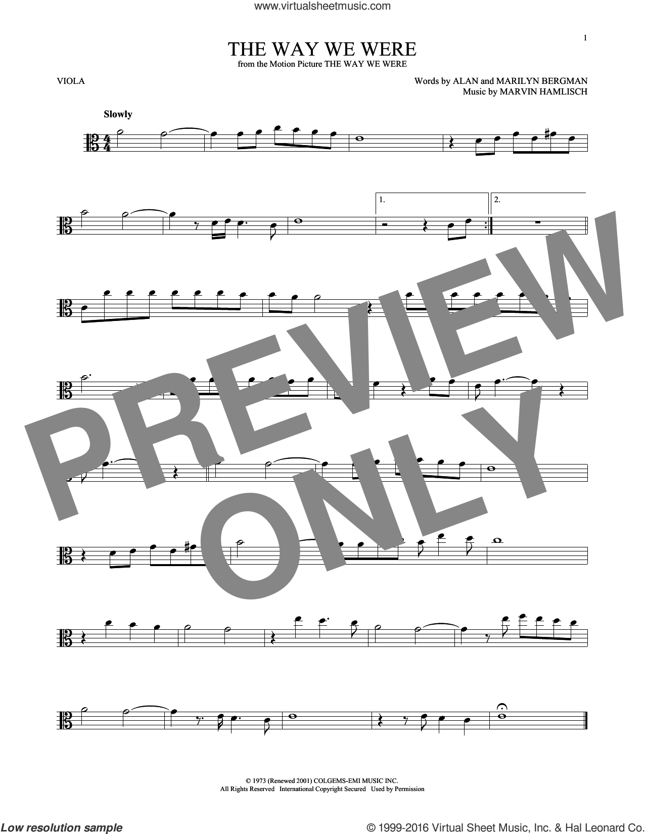 The Way We Were sheet music for viola solo by Barbra Streisand, Alan Bergman, Marilyn Bergman and Marvin Hamlisch, intermediate skill level