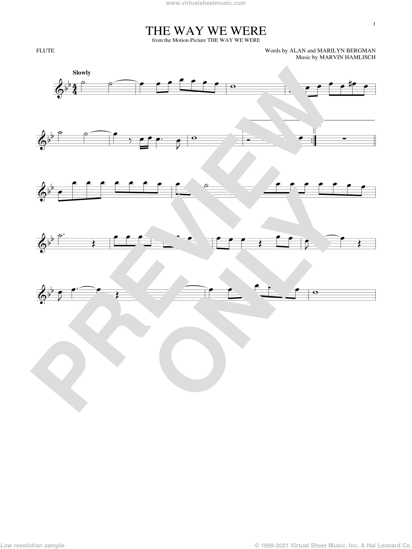 The Way We Were sheet music for flute solo by Marvin Hamlisch, Barbra Streisand, Alan Bergman and Marilyn Bergman. Score Image Preview.