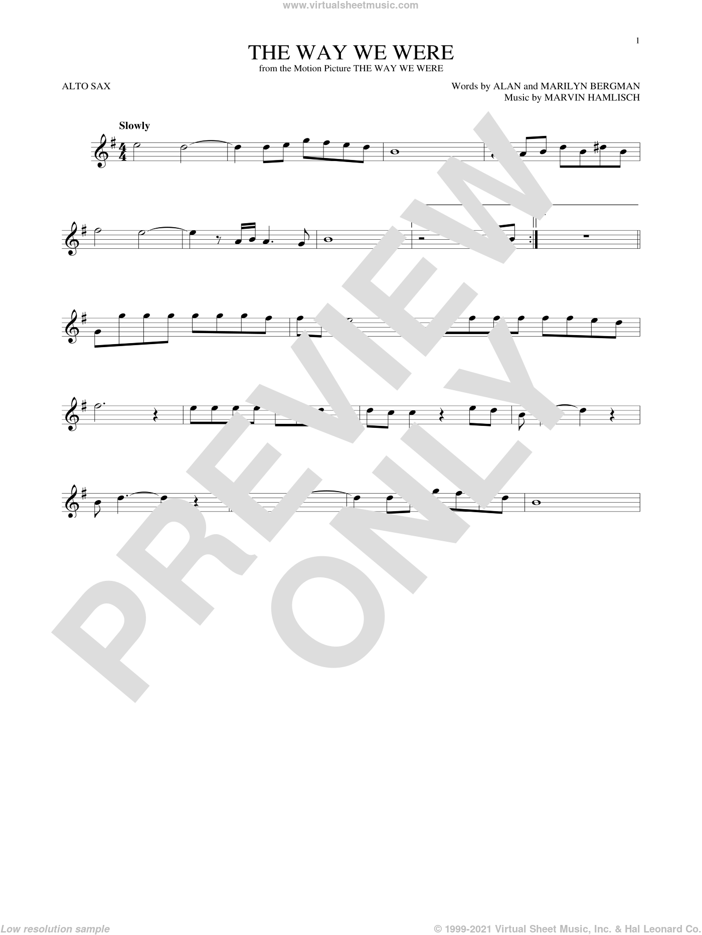 The Way We Were sheet music for alto saxophone solo by Barbra Streisand, Alan Bergman, Marilyn Bergman and Marvin Hamlisch, intermediate skill level