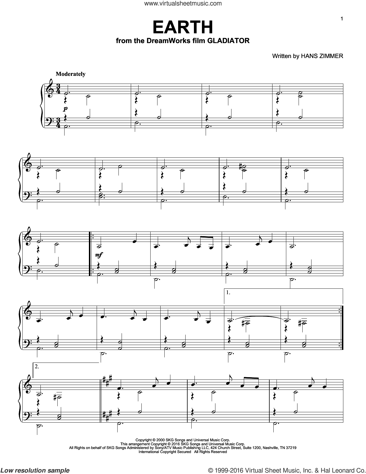 Earth sheet music for piano solo by Hans Zimmer. Score Image Preview.