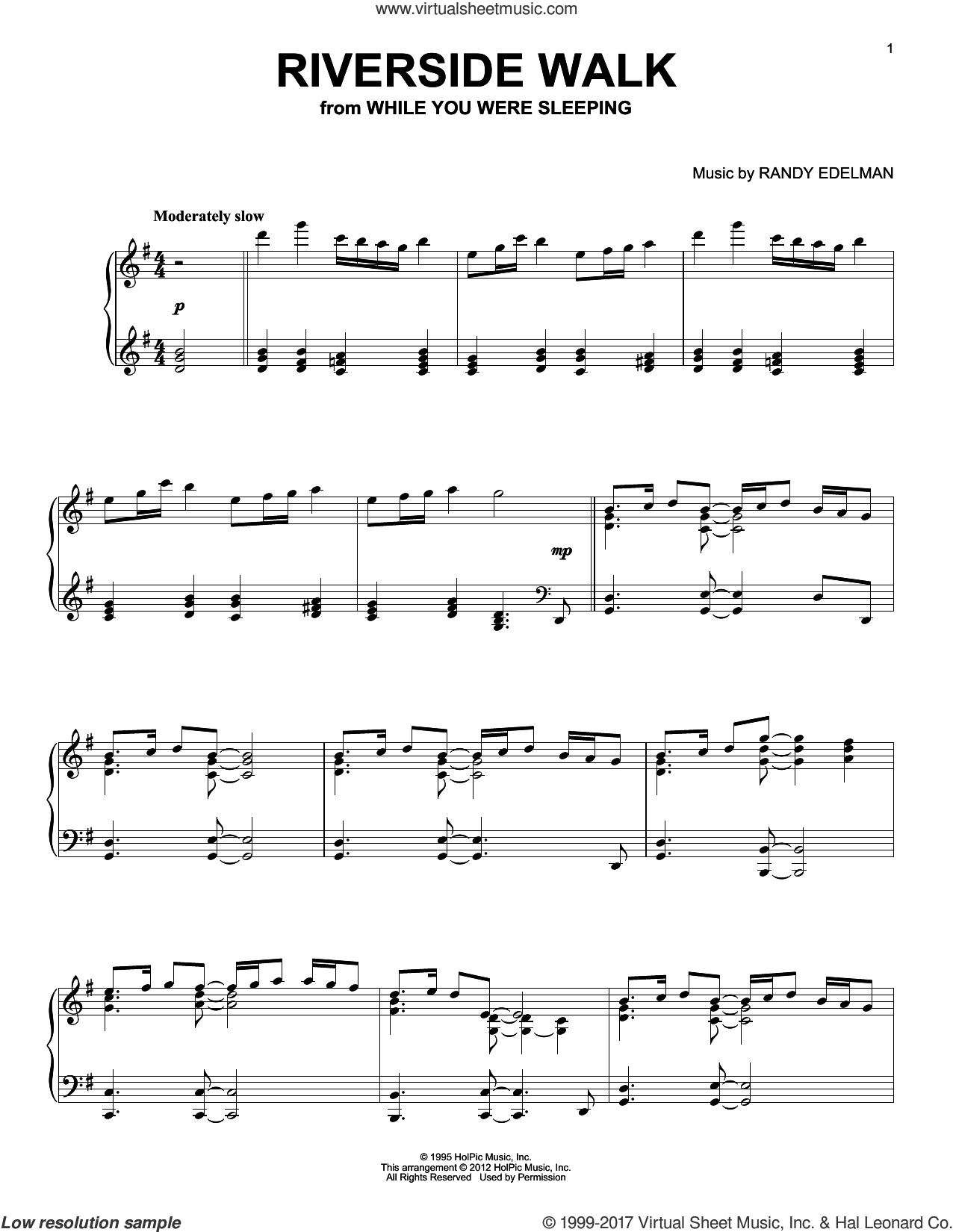 Riverside Walk sheet music for piano solo by Randy Edelman, intermediate skill level