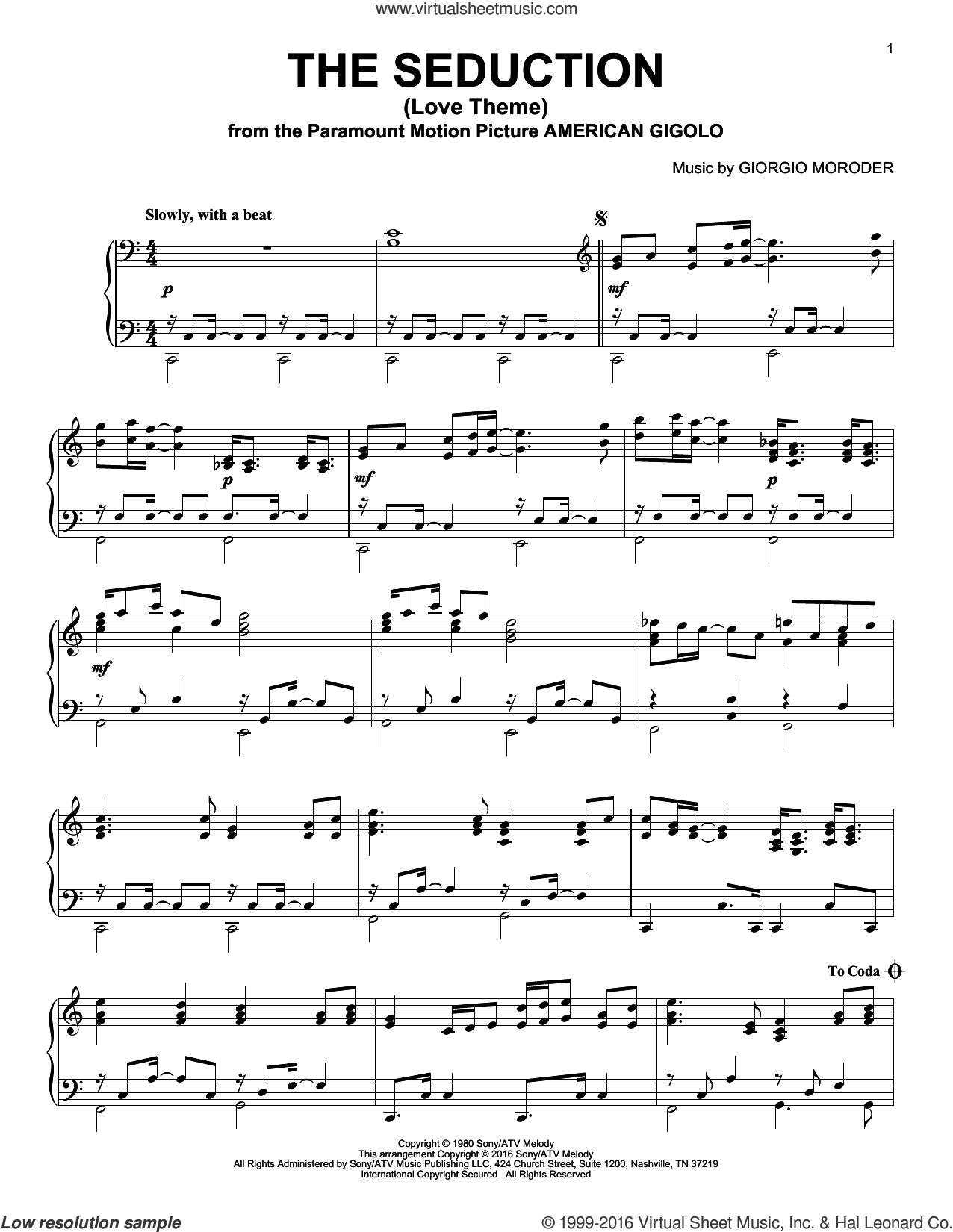 The Seduction (Love Theme) sheet music for piano solo by Giorgio Moroder. Score Image Preview.