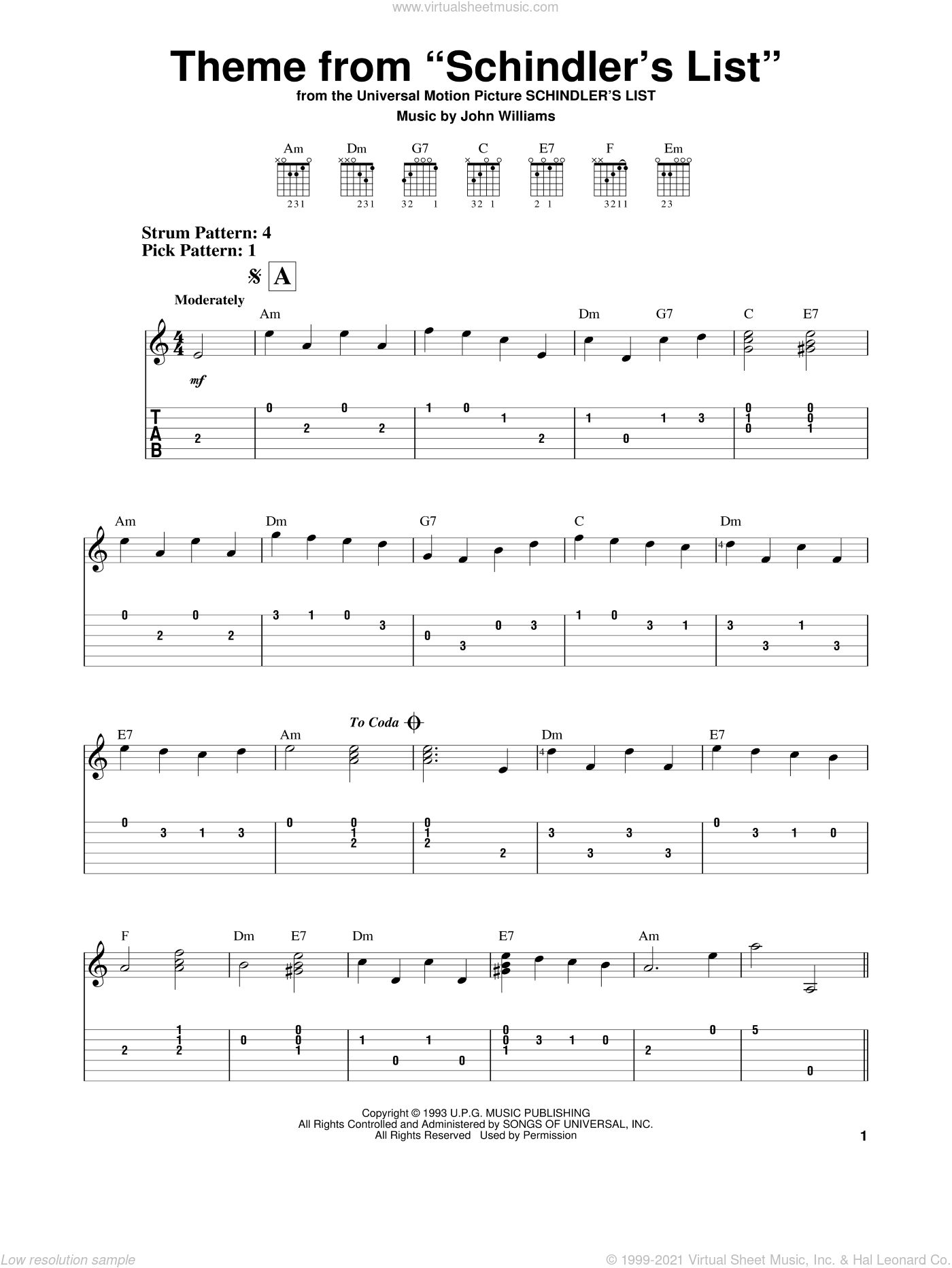 Theme From Schindler's List sheet music for guitar solo (easy tablature) by John Williams, easy guitar (easy tablature)