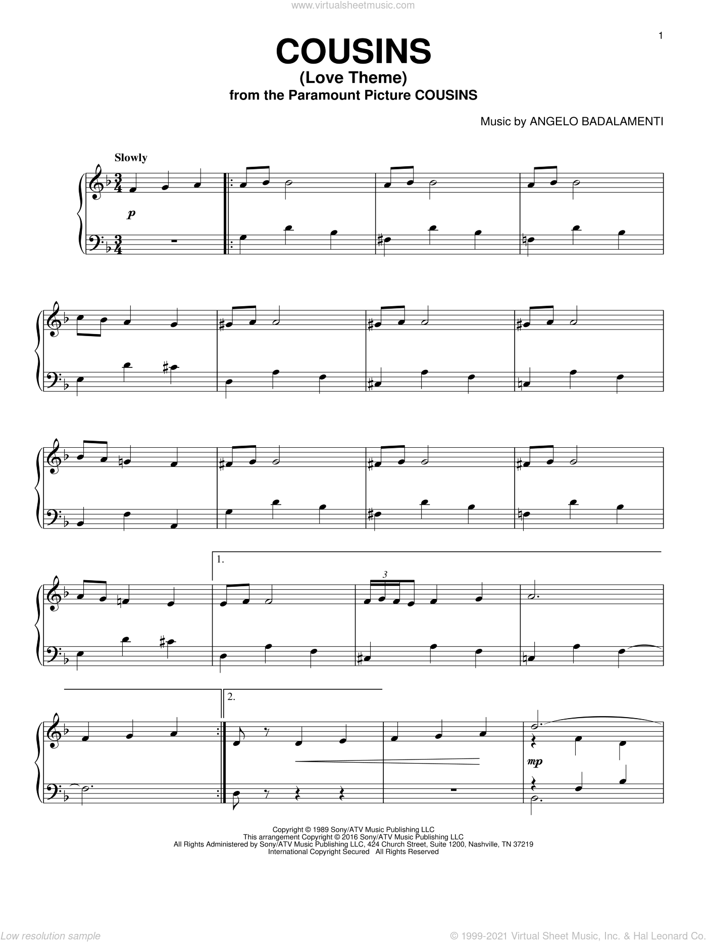 Cousins (Love Theme) sheet music for piano solo by Angelo Badalamenti, intermediate skill level