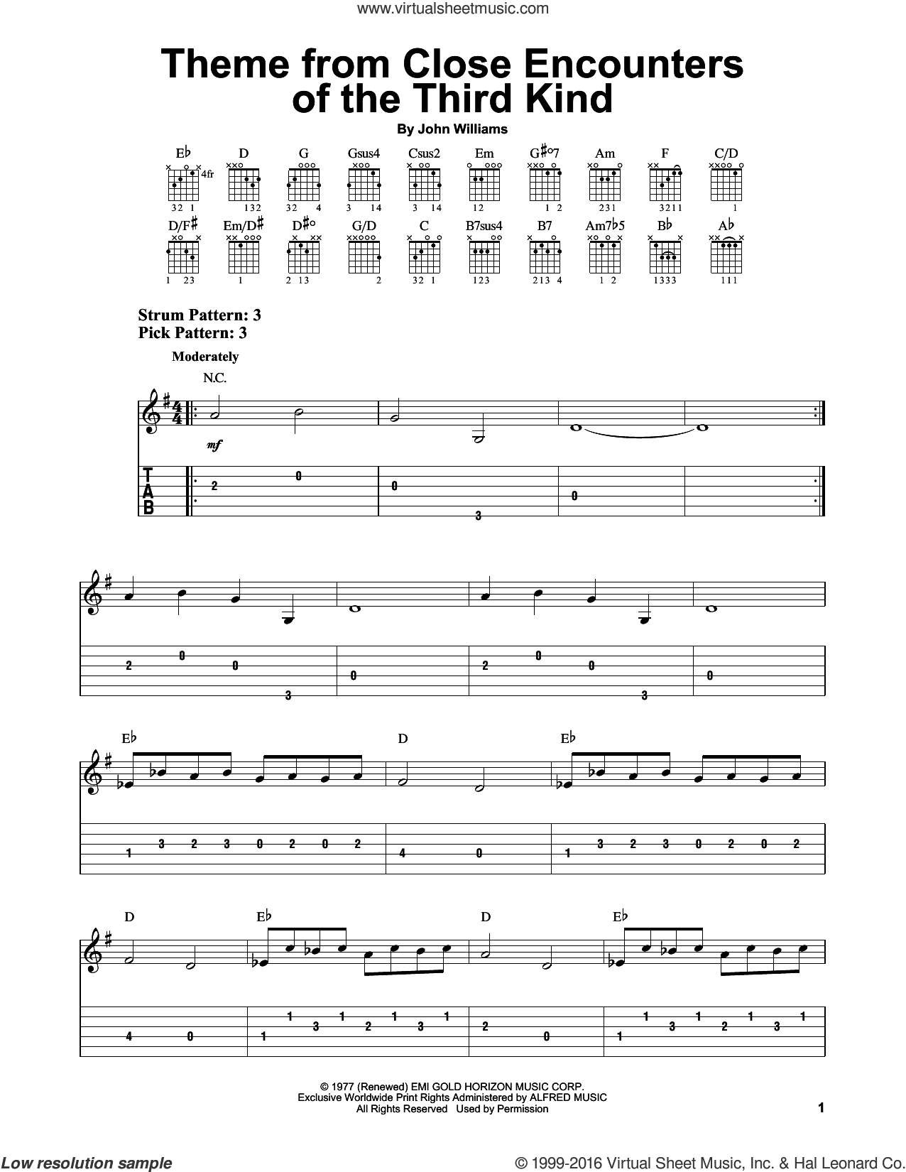 Theme From Close Encounters Of The Third Kind sheet music for guitar solo (easy tablature) by John Williams. Score Image Preview.