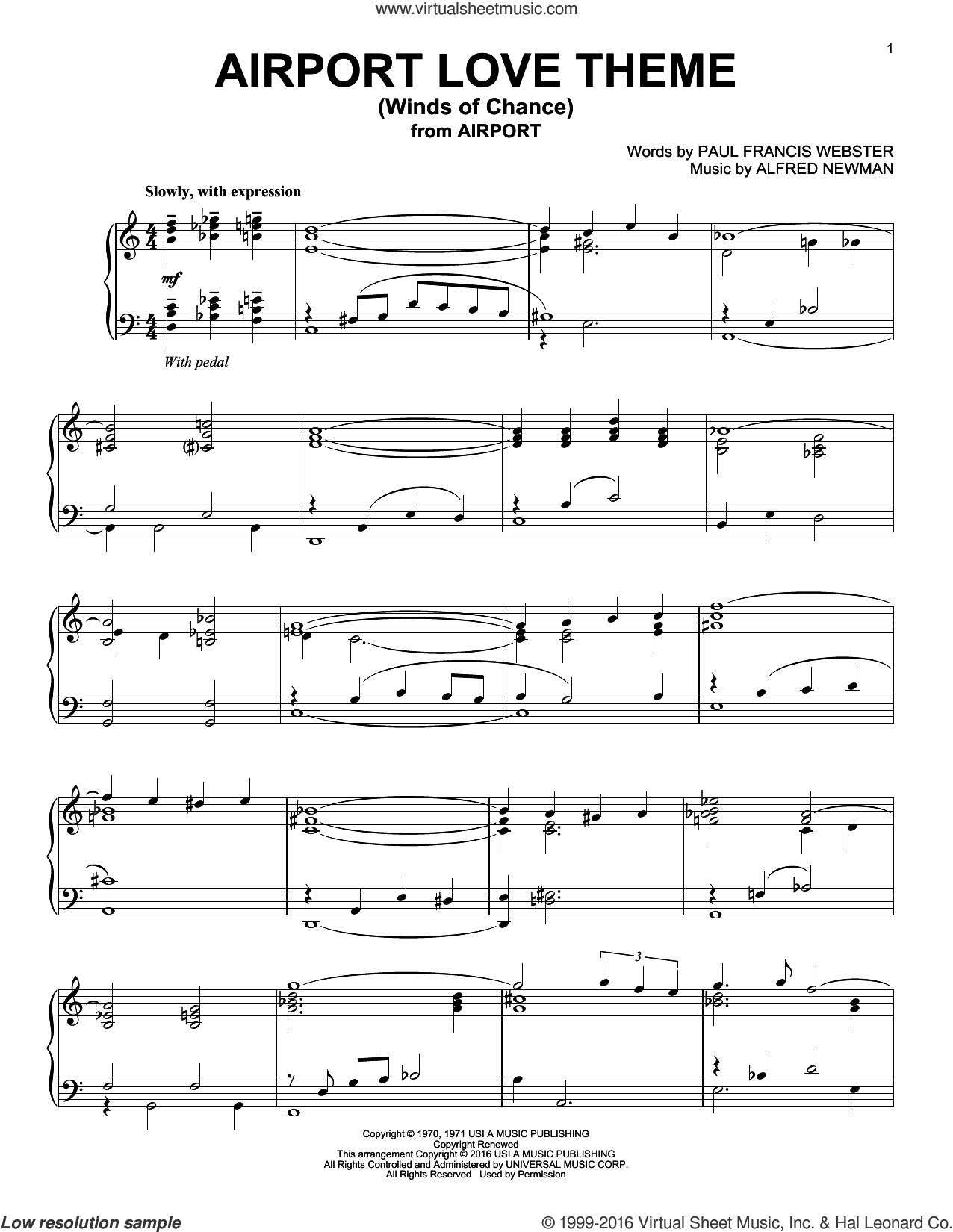 Airport Love Theme (Winds Of Chance) sheet music for piano solo by Paul Francis Webster and Alfred Newman. Score Image Preview.