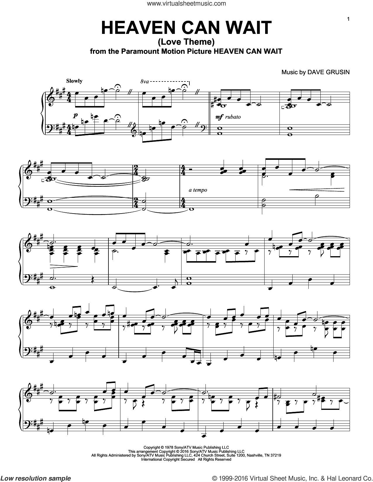 Heaven Can Wait (Love Theme) sheet music for piano solo by Dave Grusin, intermediate skill level