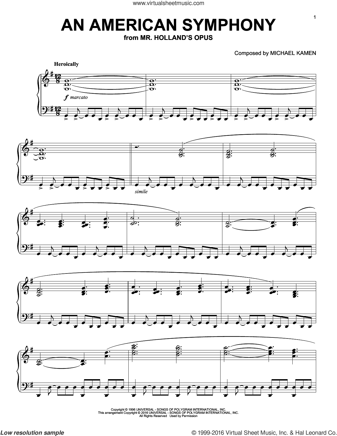 An American Symphony sheet music for piano solo by Michael Kamen, intermediate skill level