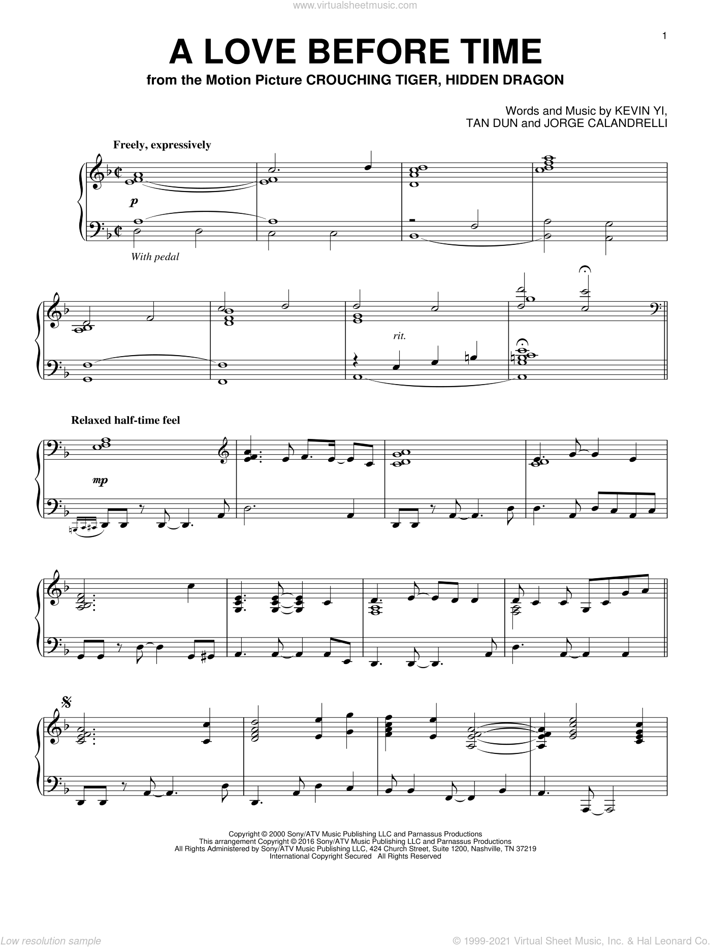 A Love Before Time sheet music for piano solo by Tan Dun, Jorge Calandrelli and Kevin Yi, intermediate skill level