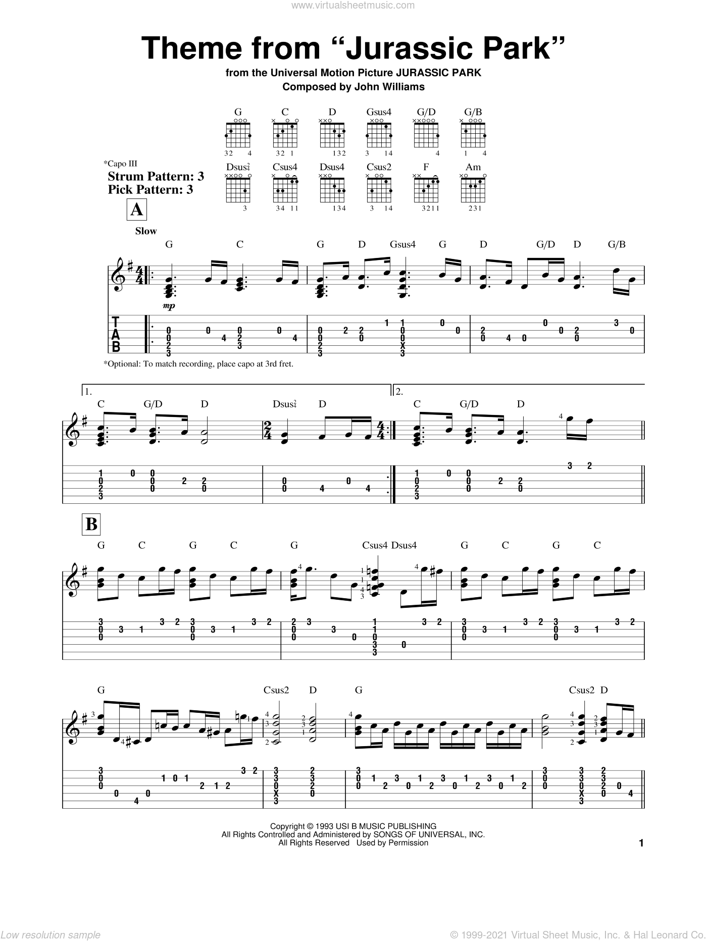 Theme From Jurassic Park sheet music for guitar solo (easy tablature) by John Williams, easy guitar (easy tablature)