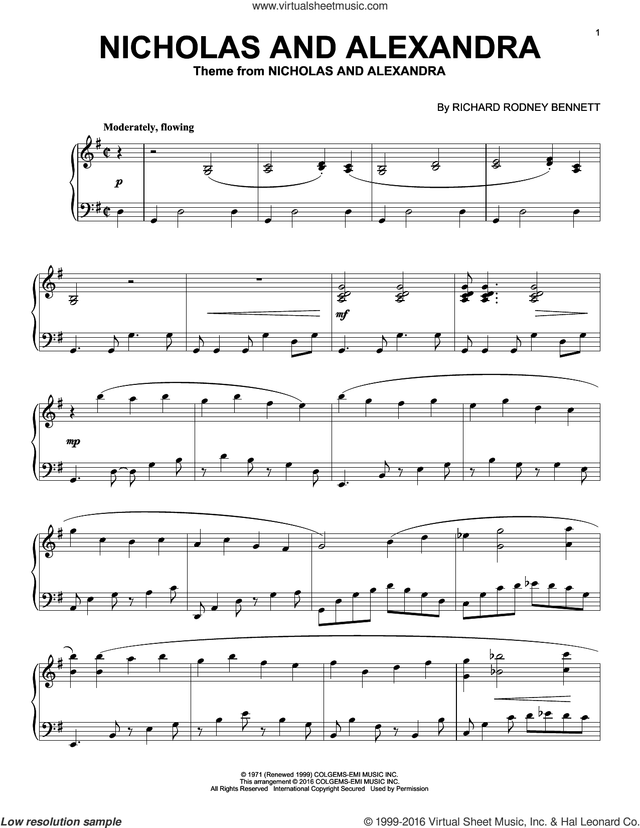 Nicholas And Alexandra sheet music for piano solo by Richard Bennett, intermediate skill level