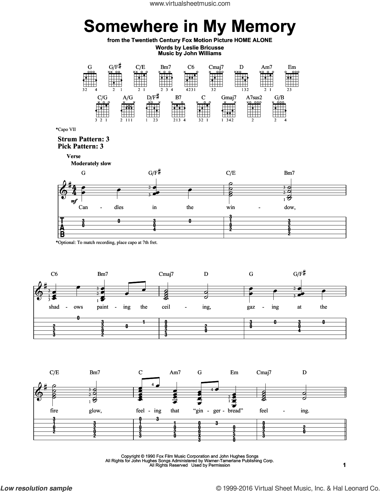 Somewhere In My Memory sheet music for guitar solo (easy tablature) by Leslie Bricusse and John Williams. Score Image Preview.