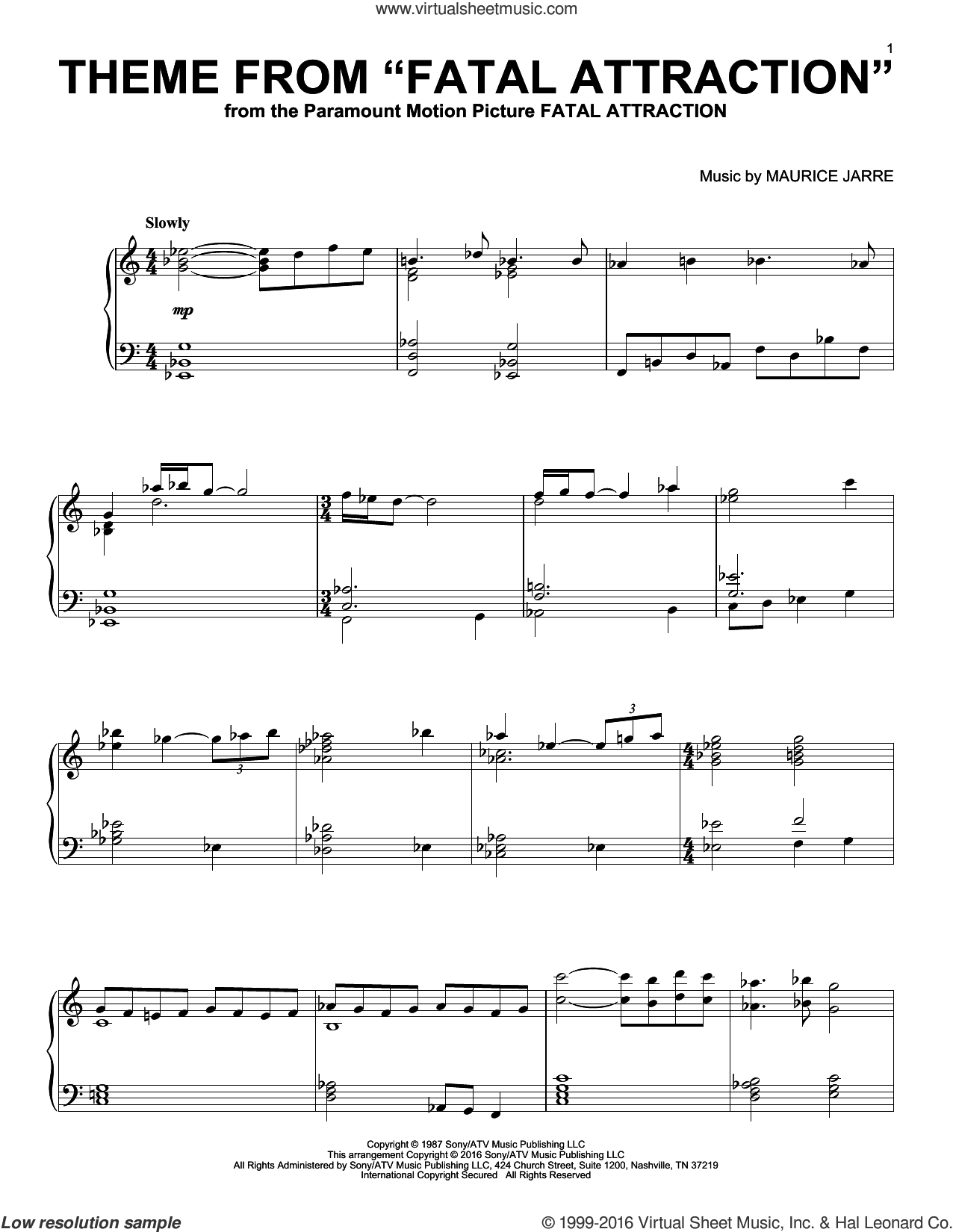Theme From Fatal Attraction sheet music for piano solo by Maurice Jarre, intermediate skill level