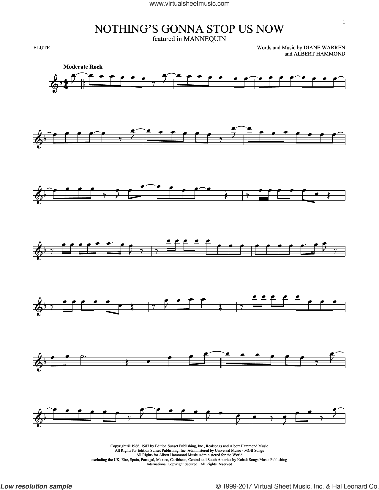 Nothing's Gonna Stop Us Now sheet music for flute solo by Starship, Albert Hammond and Diane Warren, wedding score, intermediate skill level