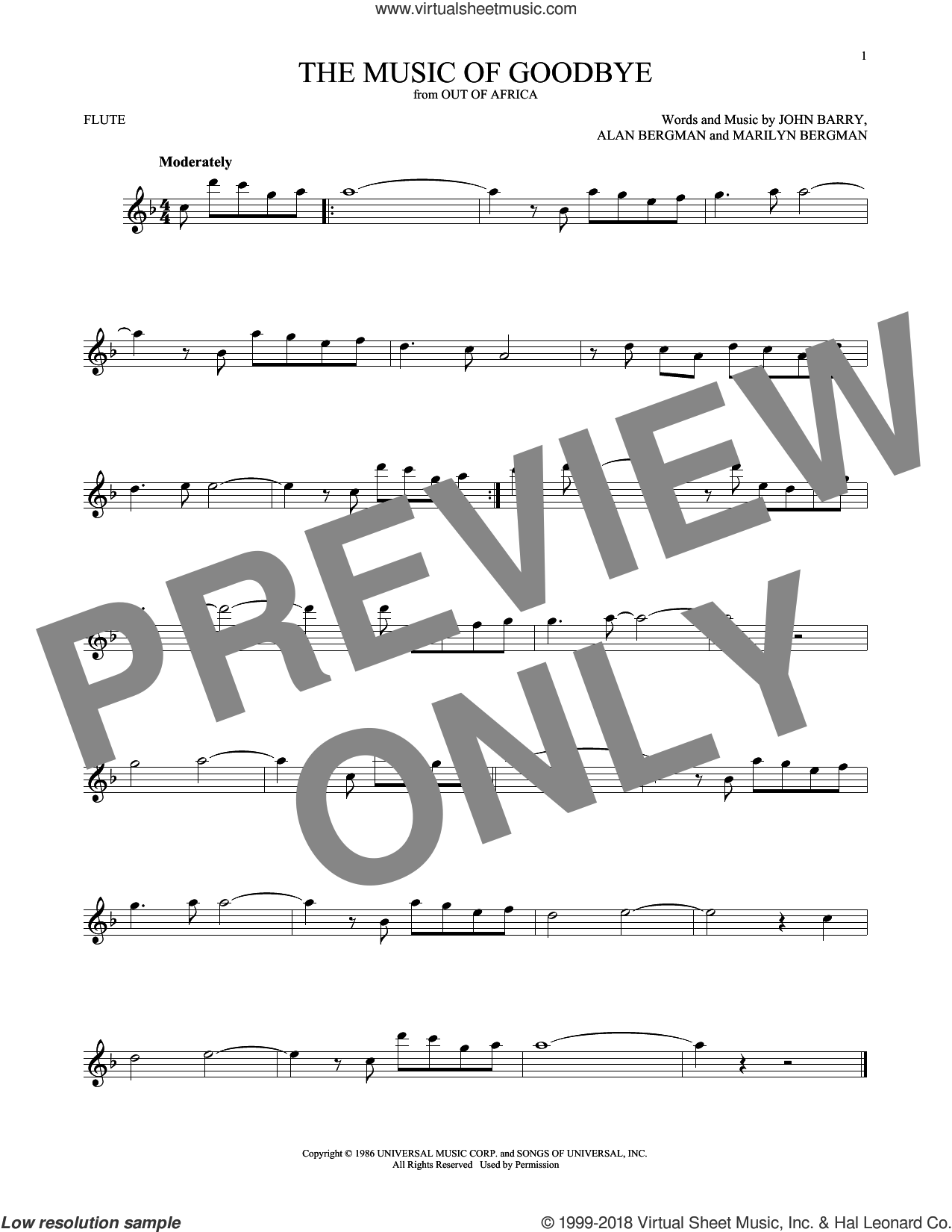The Music Of Goodbye sheet music for flute solo by John Barry, Alan Bergman and Marilyn Bergman, intermediate