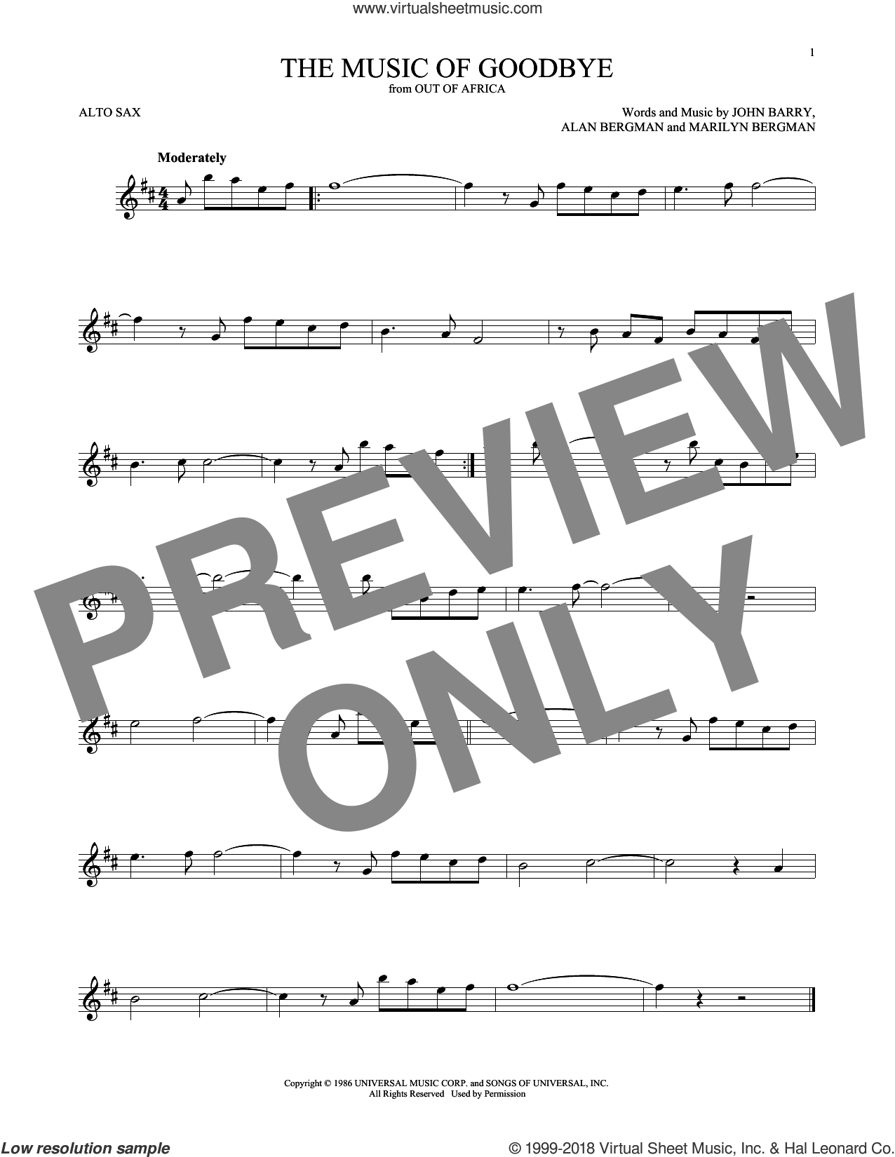 The Music Of Goodbye sheet music for alto saxophone solo ( Sax) by John Barry, Alan Bergman and Marilyn Bergman, intermediate alto saxophone ( Sax). Score Image Preview.