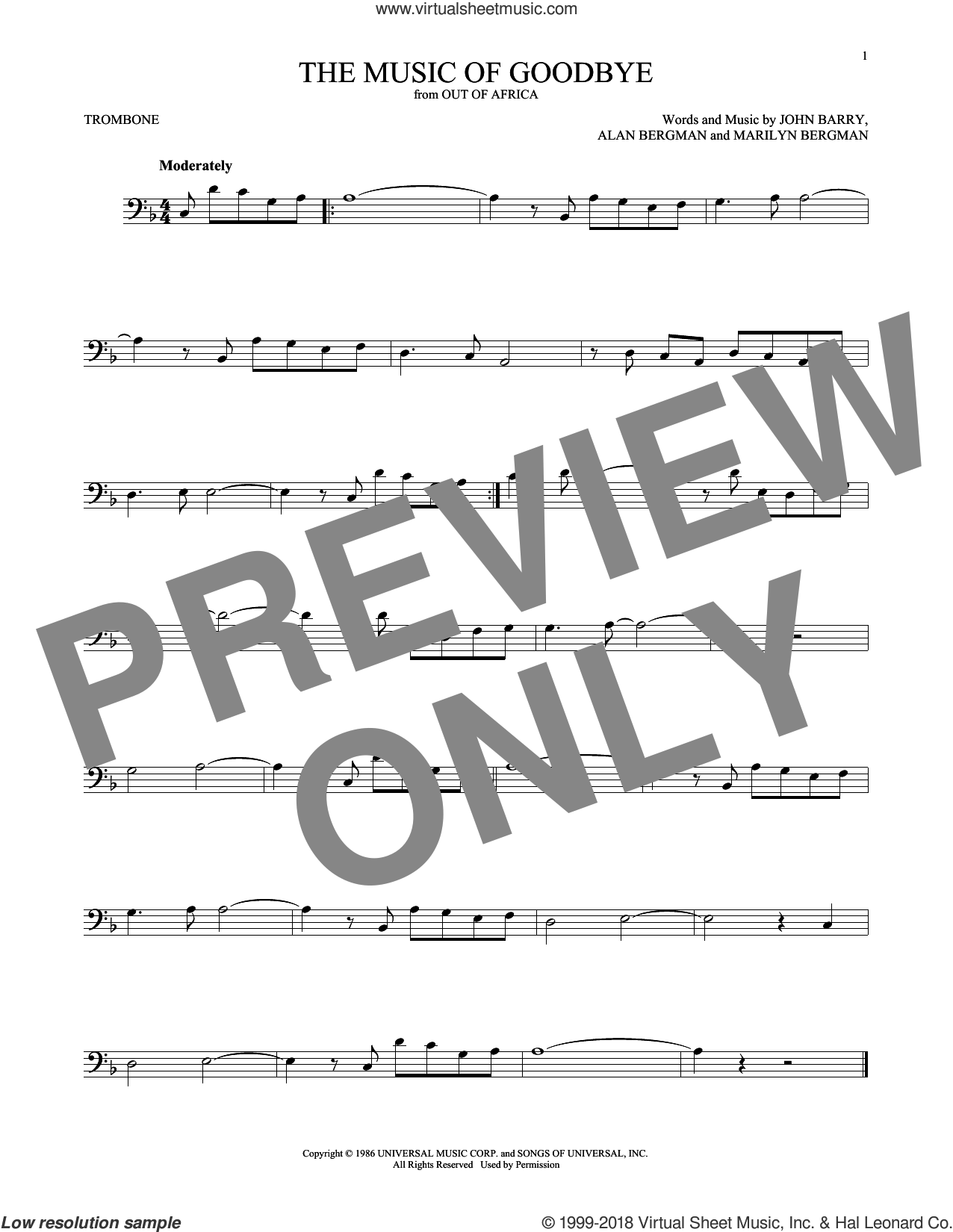 The Music Of Goodbye sheet music for trombone solo by John Barry, Alan Bergman and Marilyn Bergman, intermediate skill level