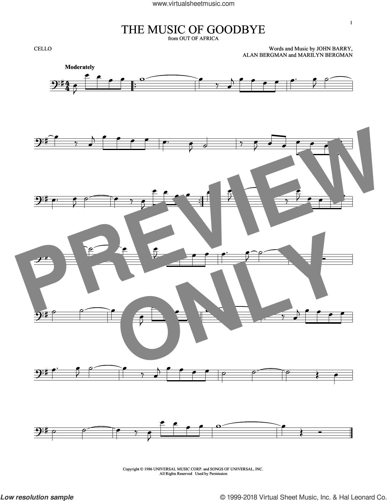 The Music Of Goodbye sheet music for cello solo by John Barry, Alan Bergman and Marilyn Bergman, intermediate skill level