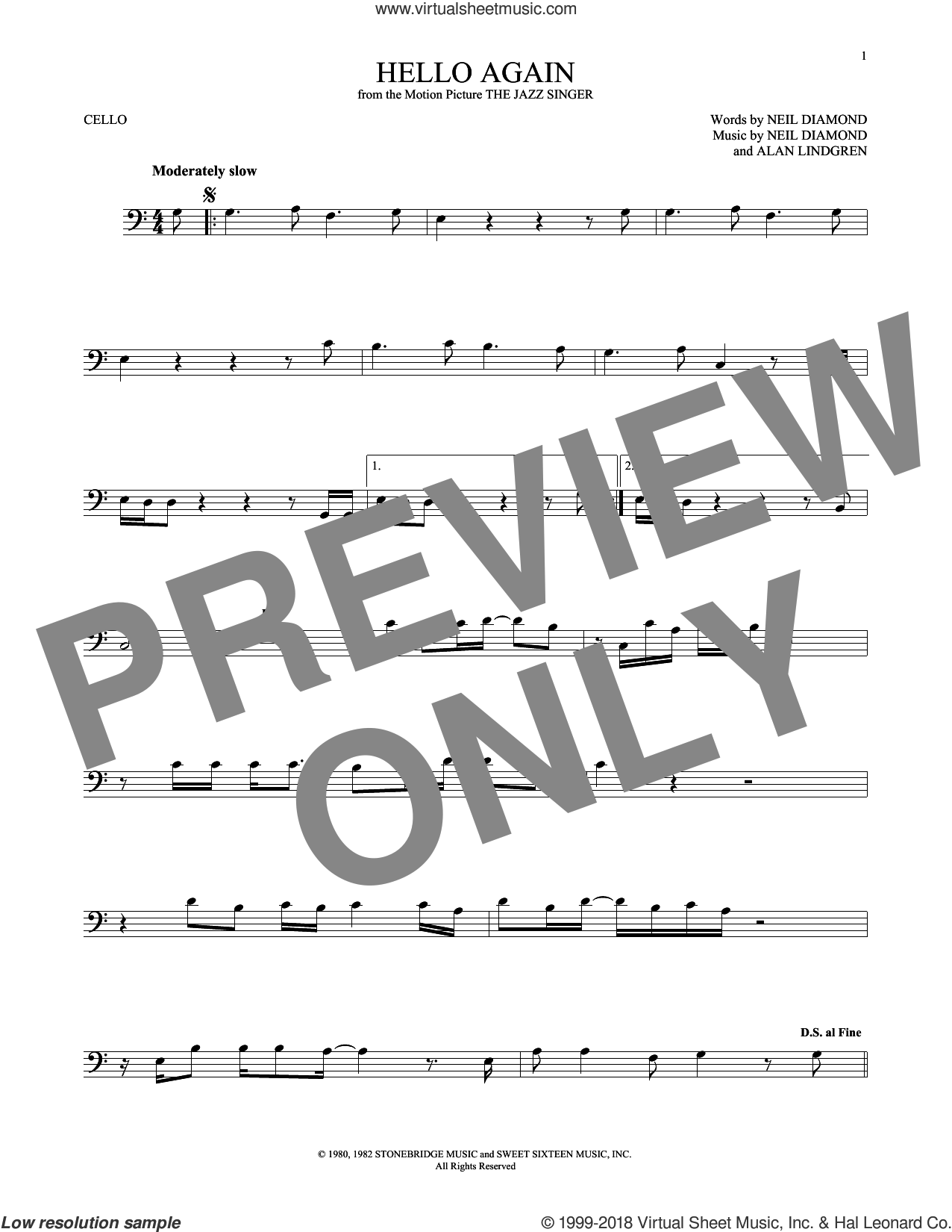 Hello Again sheet music for cello solo by Neil Diamond, intermediate. Score Image Preview.