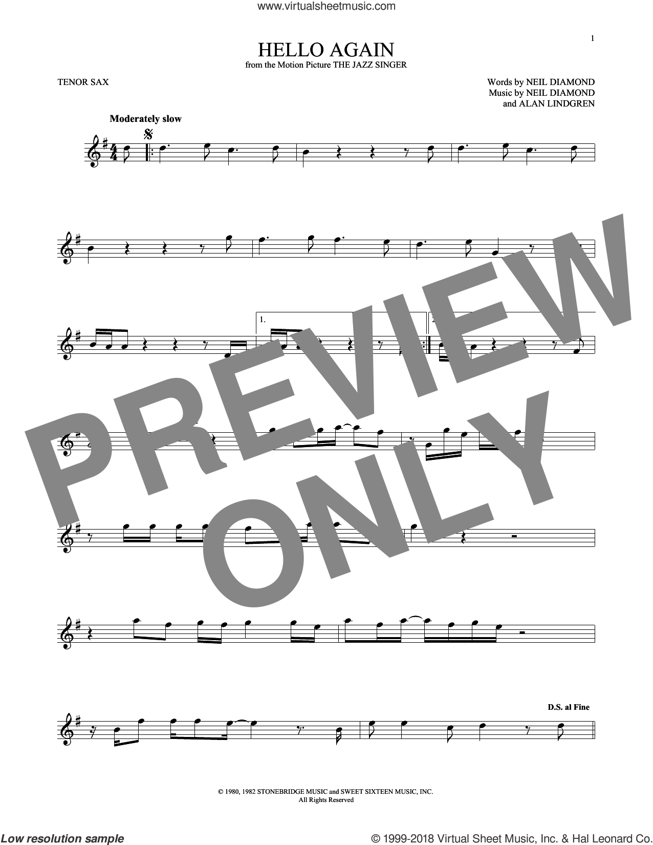 Hello Again sheet music for tenor saxophone solo by Neil Diamond and Alan Lindgren, intermediate skill level