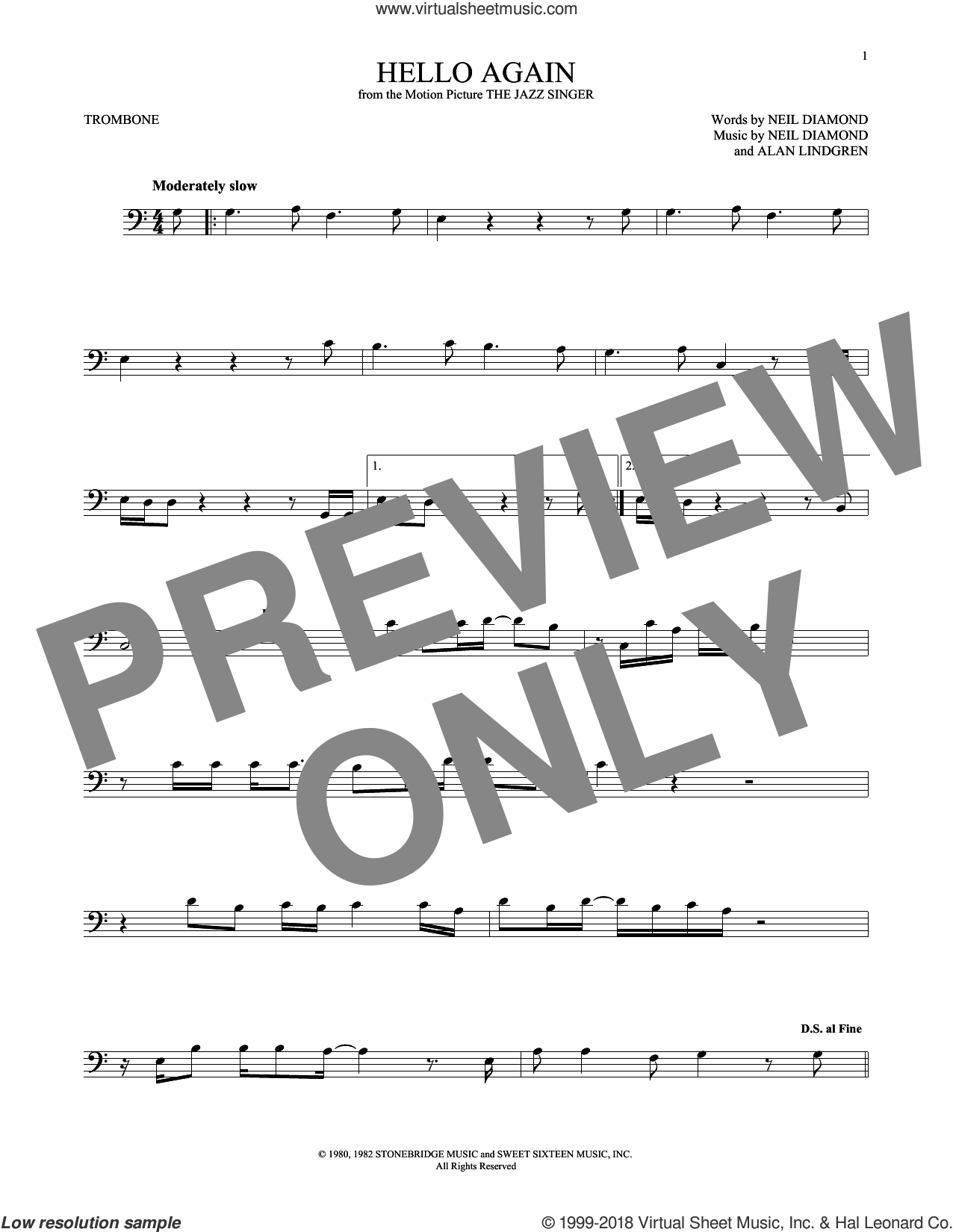 Hello Again sheet music for trombone solo by Neil Diamond, intermediate. Score Image Preview.