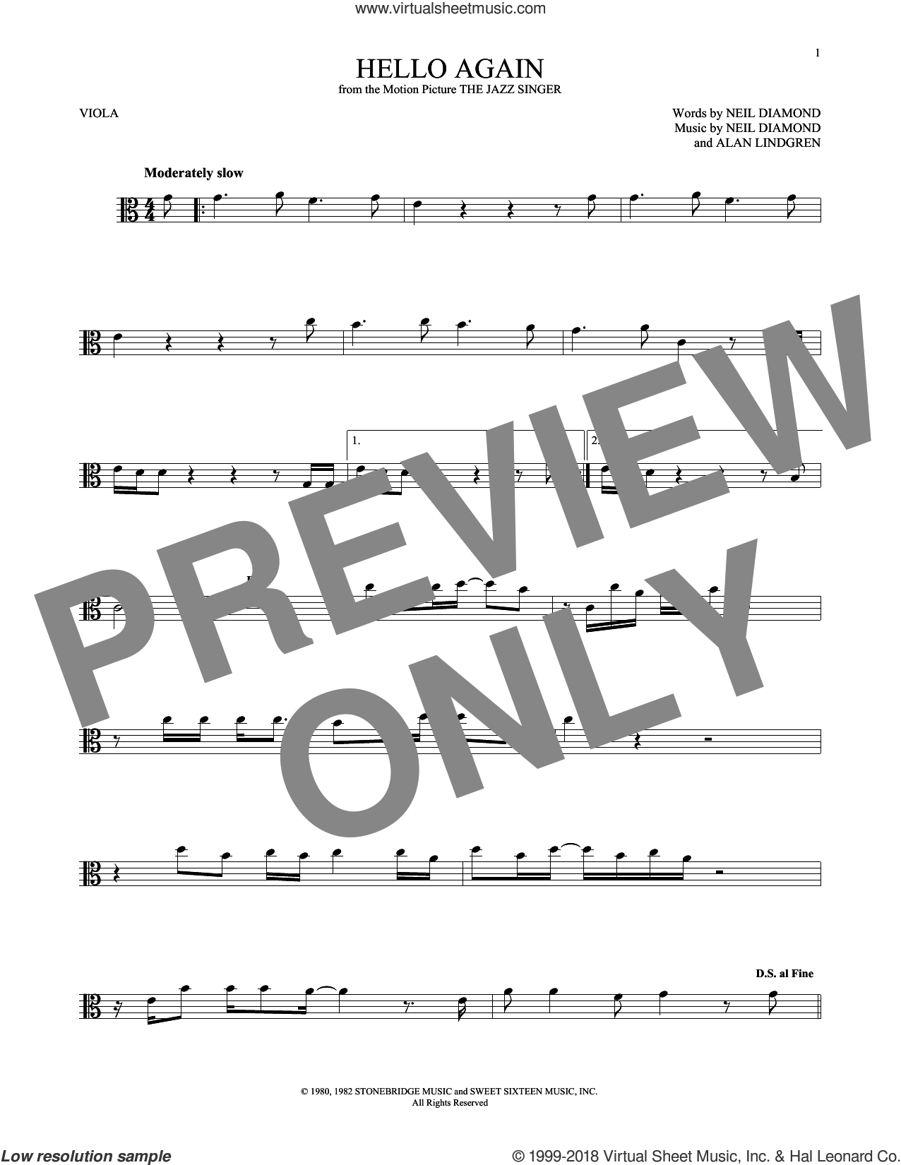 Hello Again sheet music for viola solo by Neil Diamond and Alan Lindgren, intermediate skill level