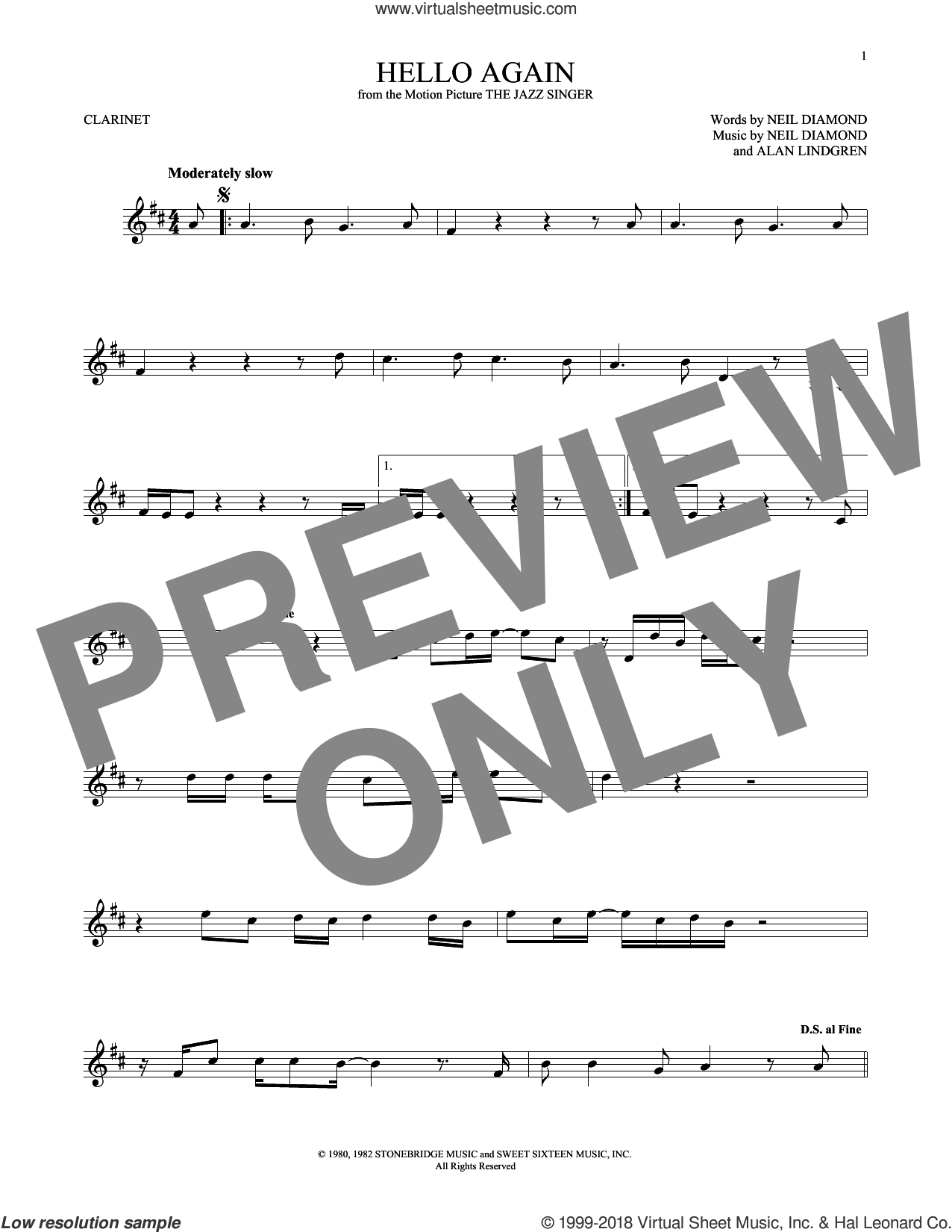 Hello Again sheet music for clarinet solo by Alan Lindgren and Neil Diamond. Score Image Preview.