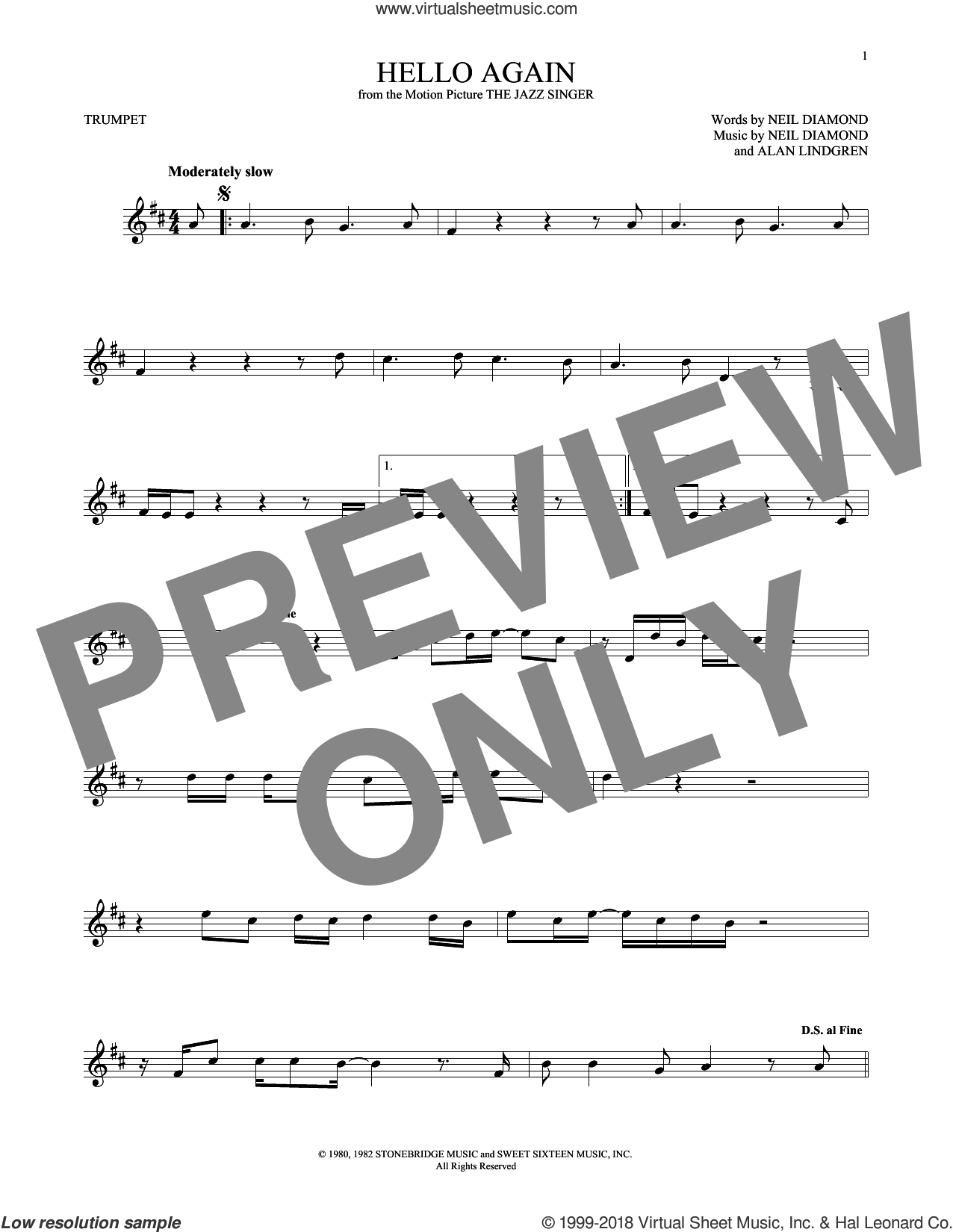 Hello Again sheet music for trumpet solo by Alan Lindgren and Neil Diamond. Score Image Preview.