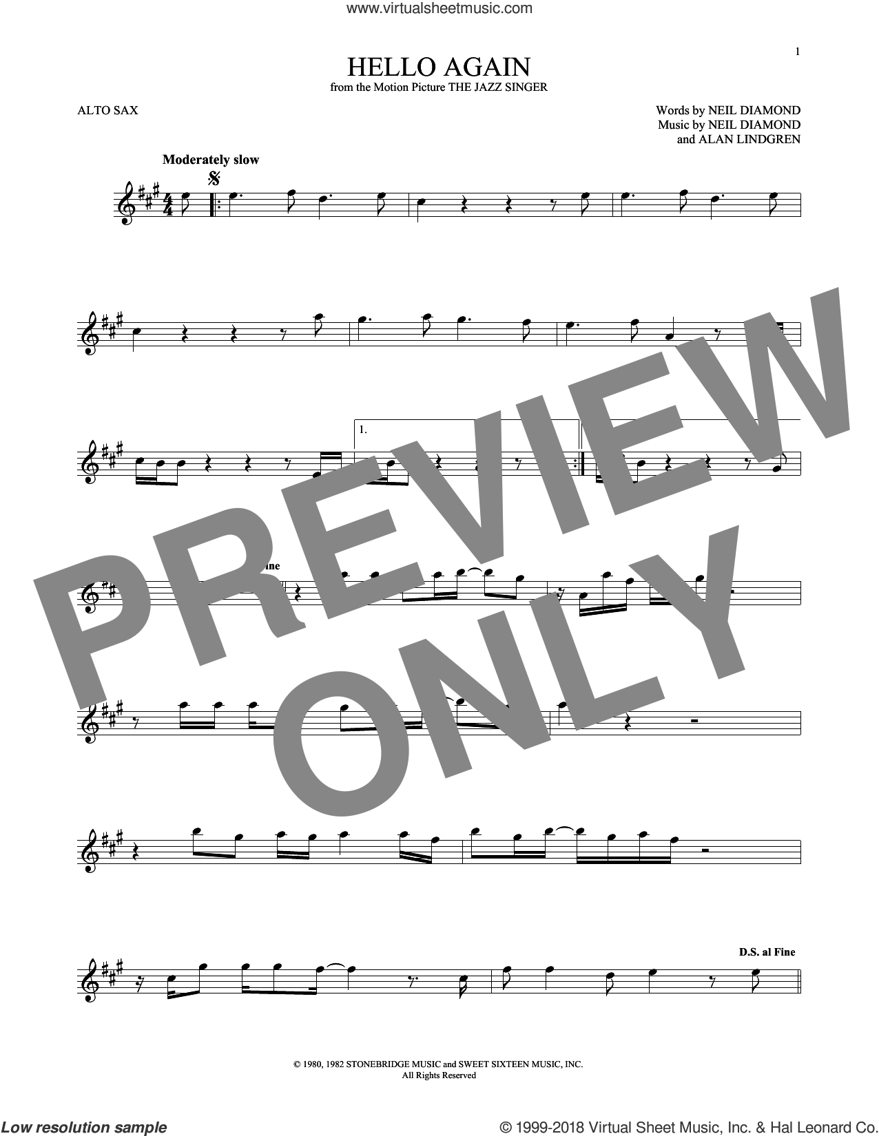 Hello Again sheet music for alto saxophone solo ( Sax) by Neil Diamond. Score Image Preview.