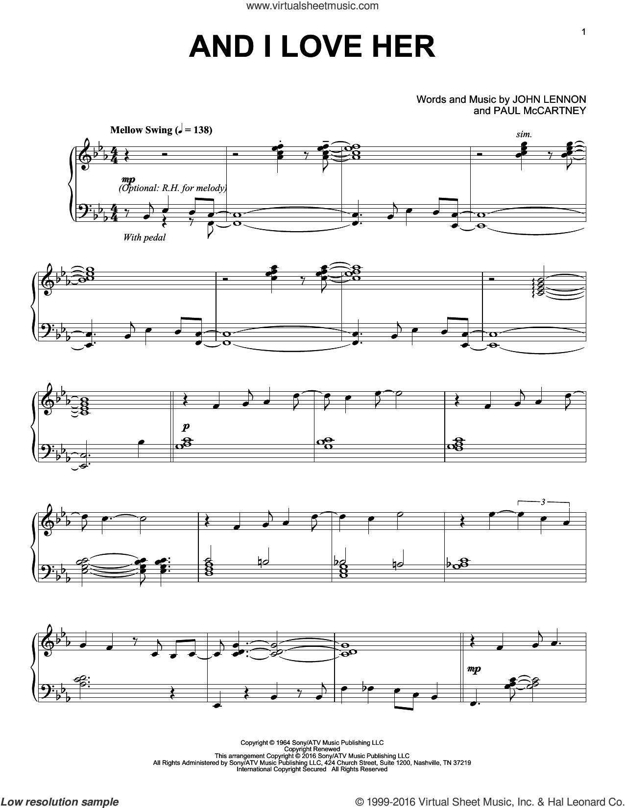 And I Love Her [Jazz version] sheet music for piano solo by The Beatles, John Lennon and Paul McCartney, intermediate skill level