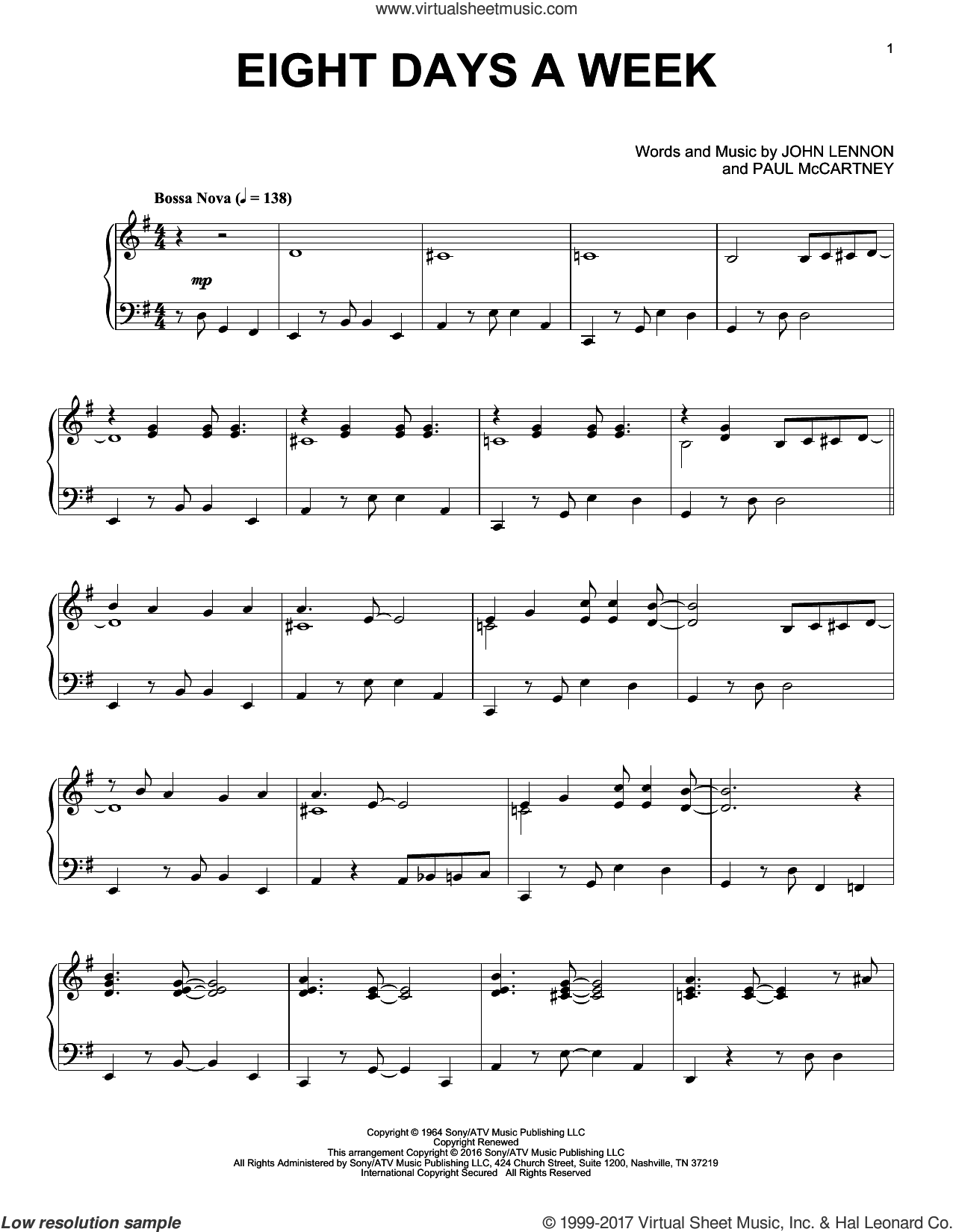 Eight Days A Week [Jazz version] sheet music for piano solo by The Beatles, John Lennon and Paul McCartney, intermediate skill level
