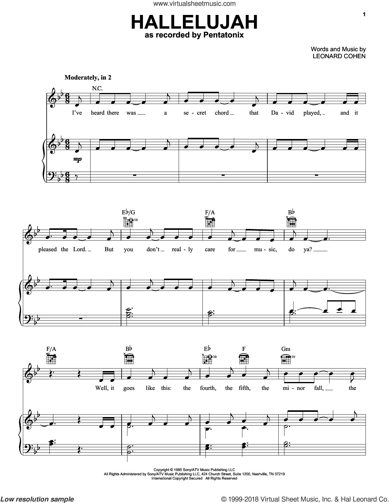 Hallelujah sheet music for voice, piano or guitar by Pentatonix and Leonard Cohen, intermediate skill level