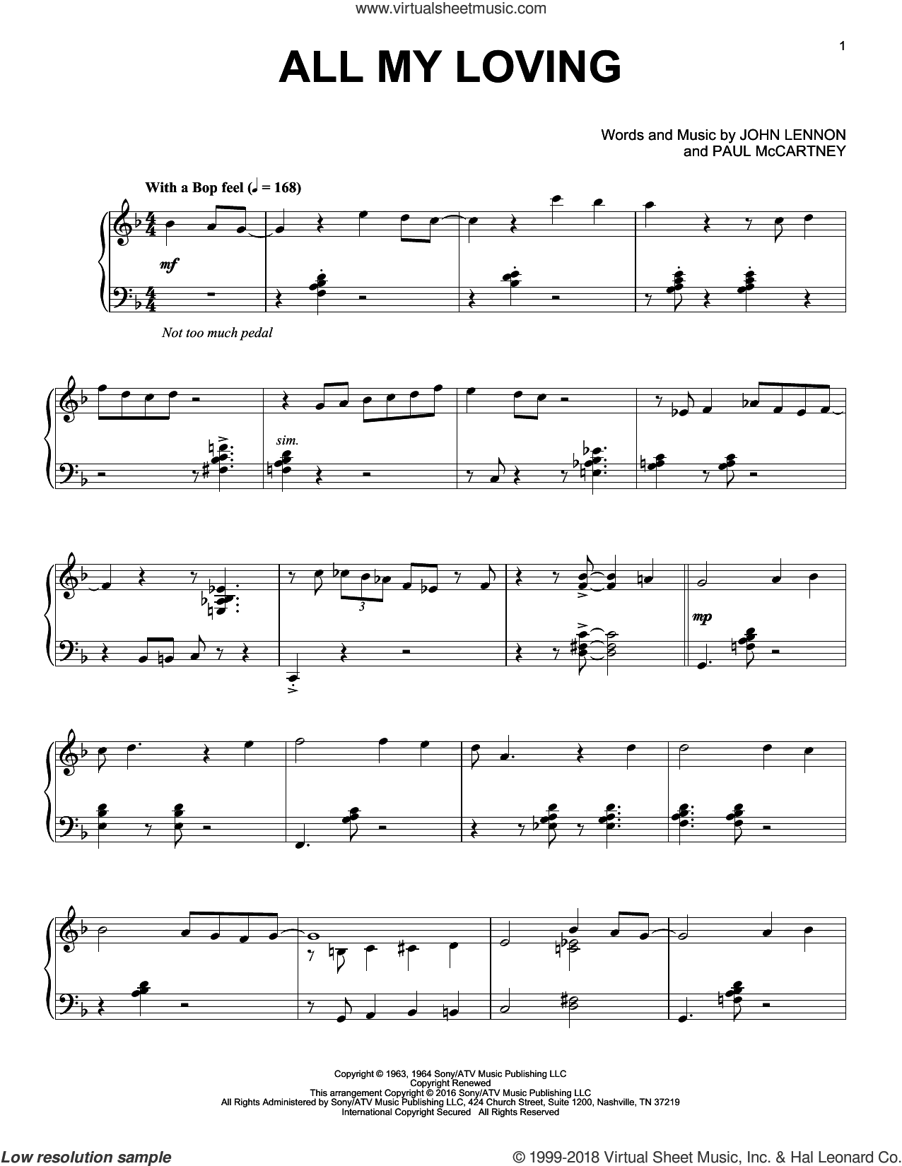 All My Loving [Jazz version] sheet music for piano solo by The Beatles, John Lennon and Paul McCartney, intermediate skill level