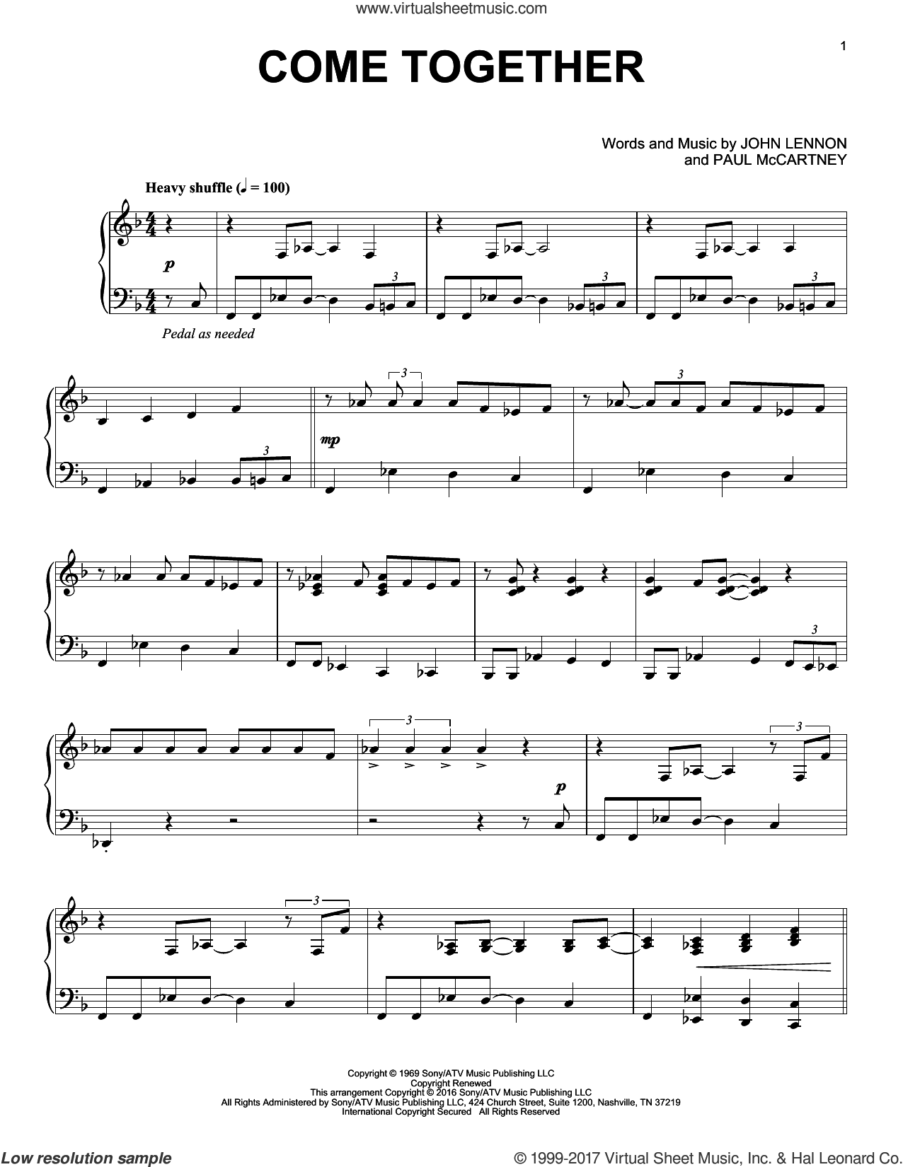 Come Together sheet music for piano solo by The Beatles, John Lennon and Paul McCartney, intermediate skill level
