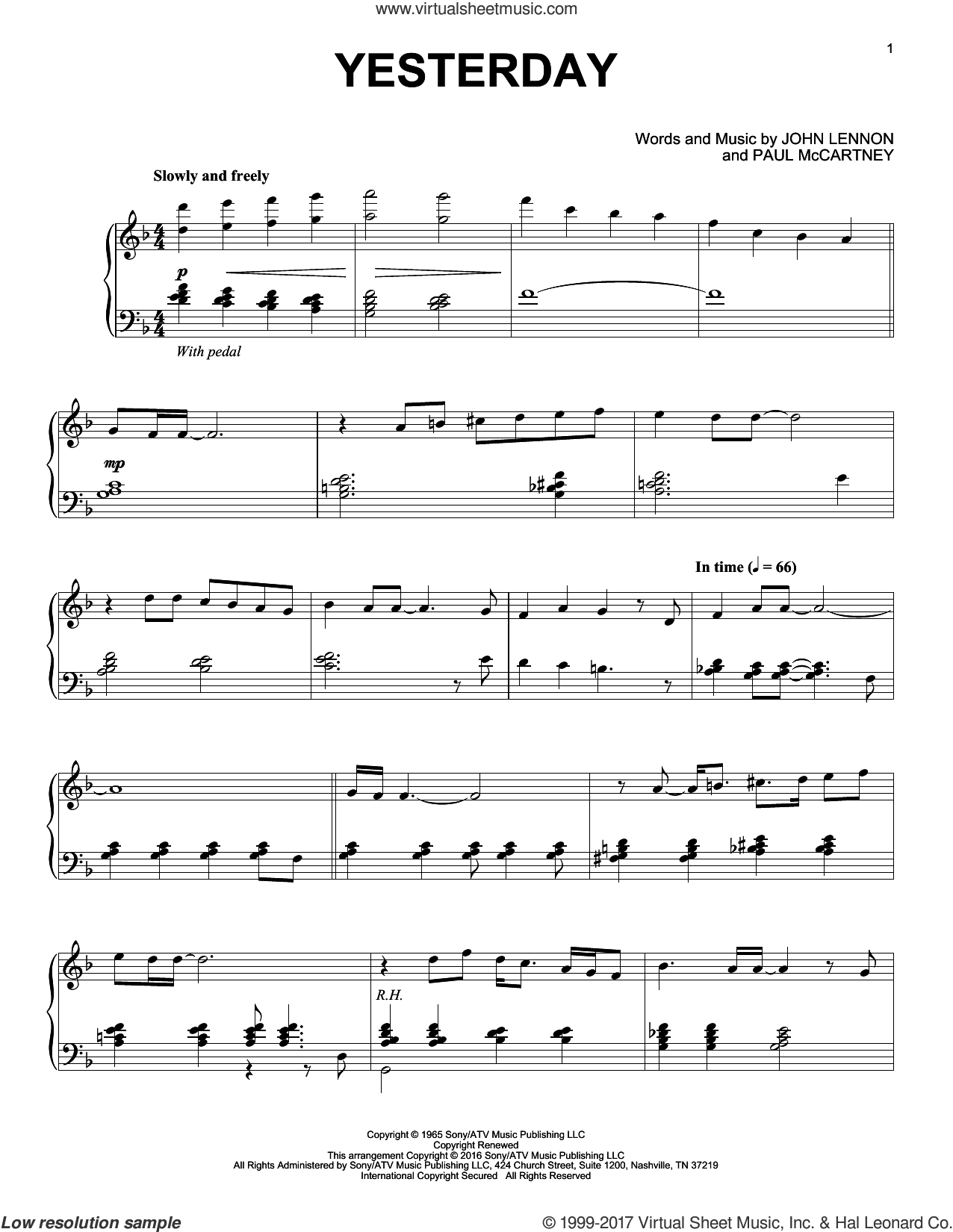 Yesterday [Jazz version] sheet music for piano solo by The Beatles, John Lennon and Paul McCartney, intermediate skill level