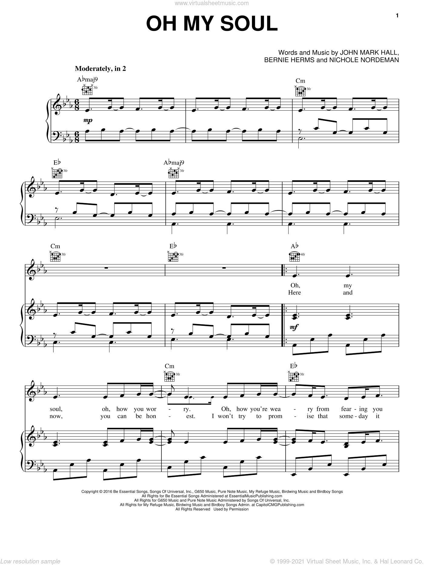 Oh My Soul sheet music for voice, piano or guitar by Casting Crowns, Bernie Herms and John Mark Hall, intermediate skill level