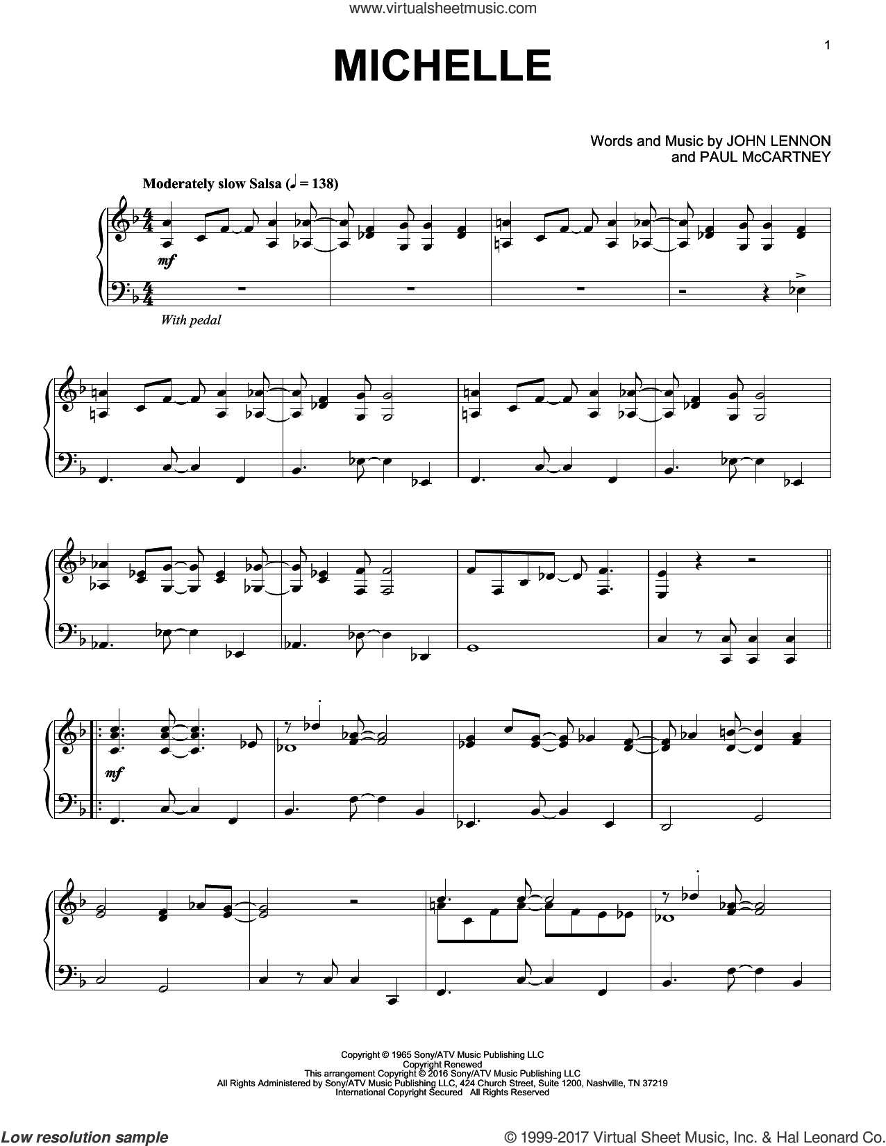 Michelle [Jazz version] sheet music for piano solo by The Beatles, John Lennon and Paul McCartney, intermediate skill level