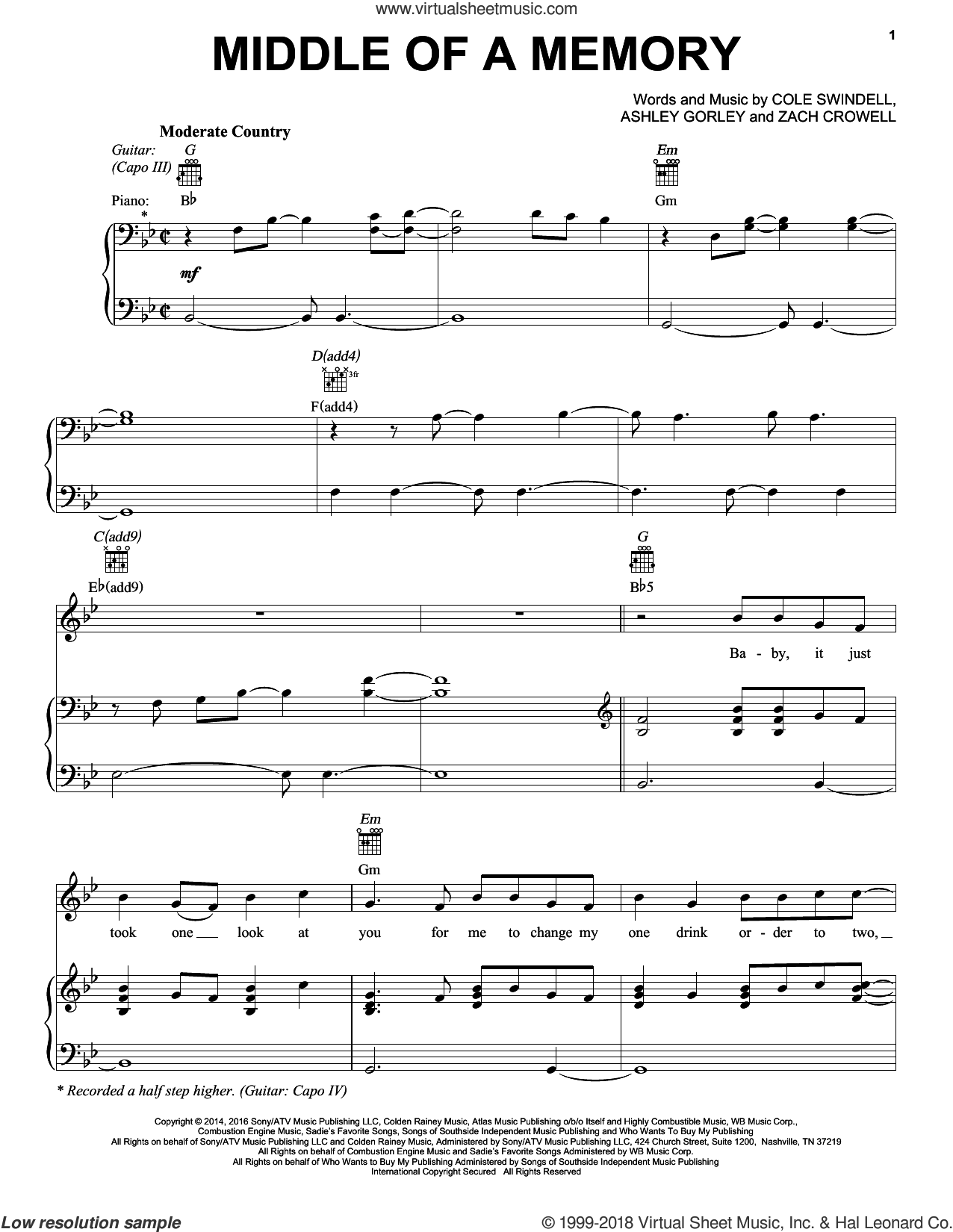 Middle Of A Memory sheet music for voice, piano or guitar by Zach Crowell, Ashley Gorley and Cole Swindell. Score Image Preview.