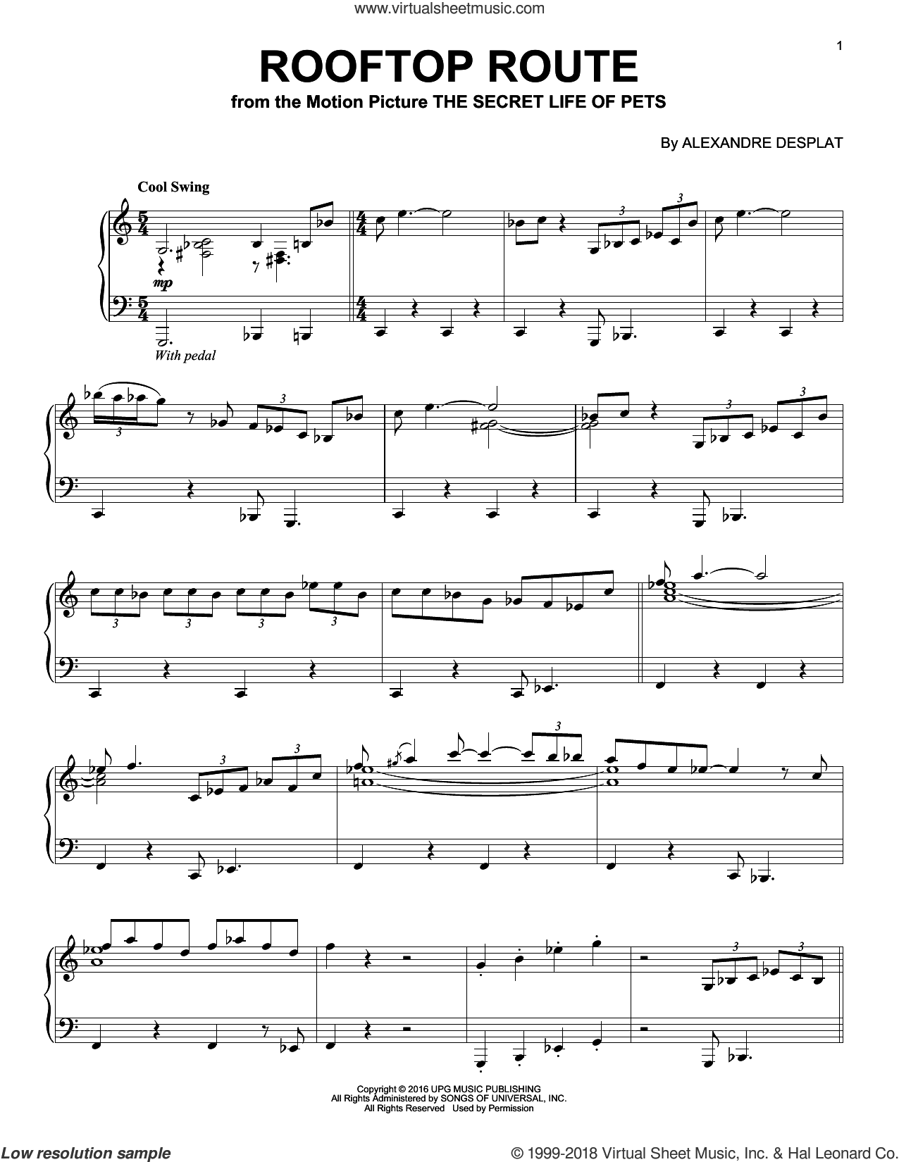 Rooftop Route sheet music for piano solo by Alexandre Desplat, intermediate piano. Score Image Preview.