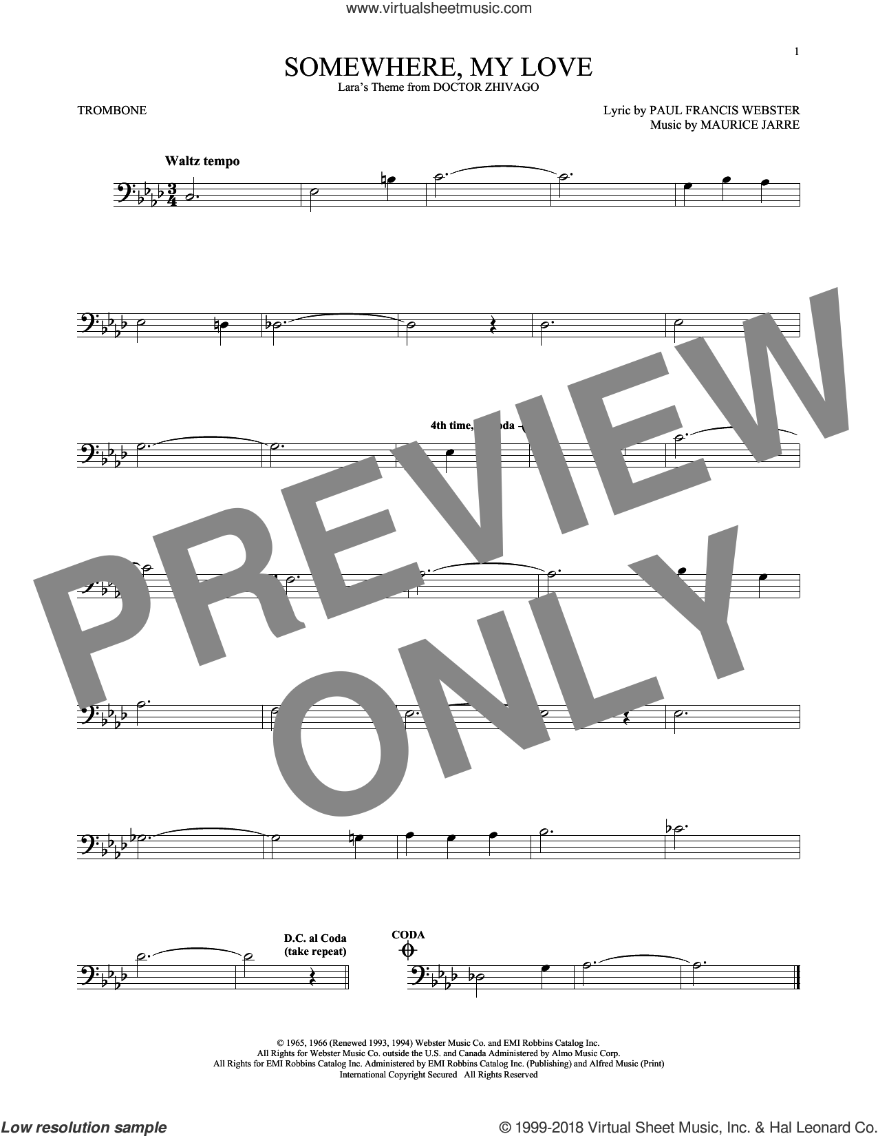 Somewhere, My Love sheet music for trombone solo by Paul Francis Webster and Maurice Jarre, intermediate skill level