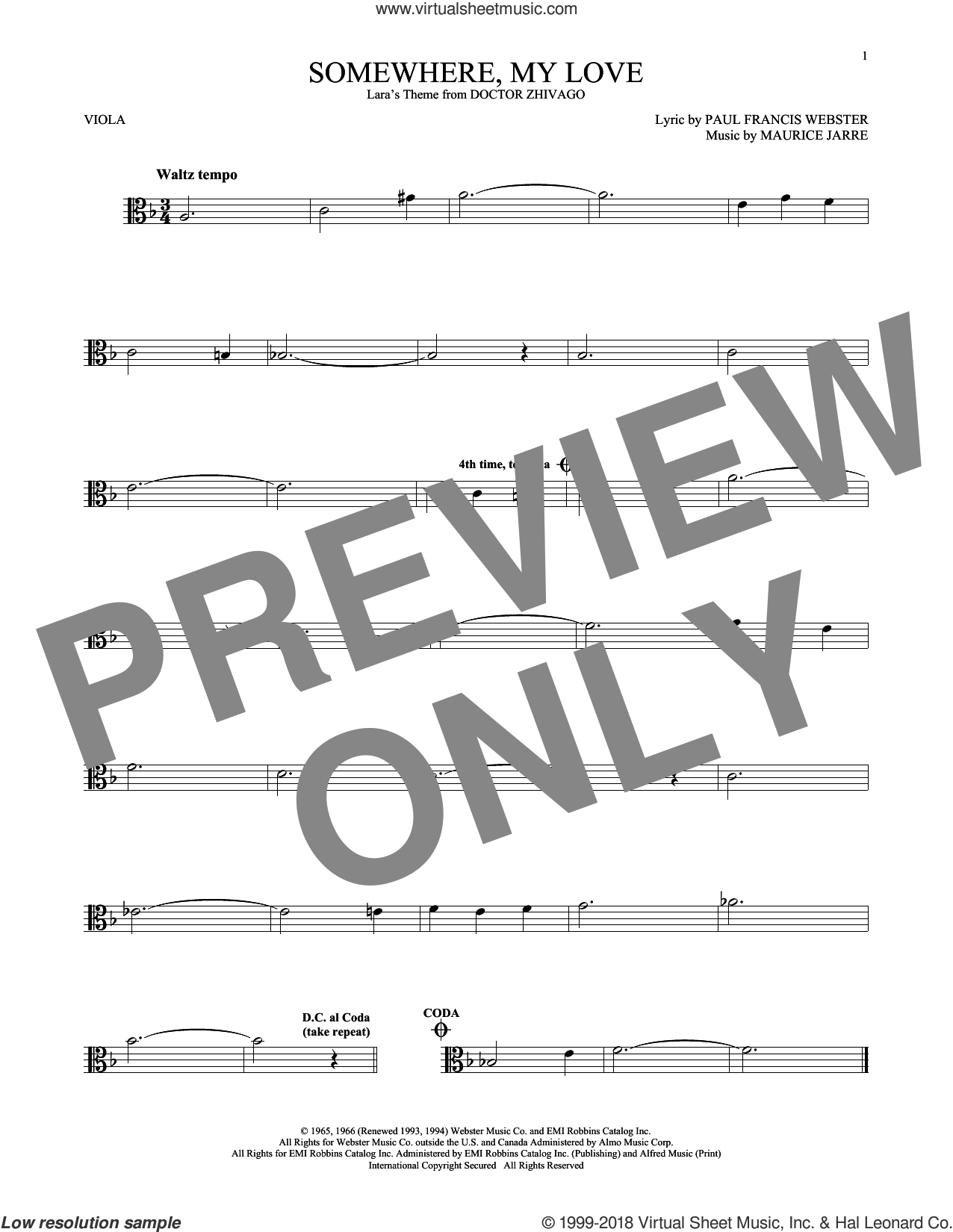 Somewhere, My Love sheet music for viola solo by Paul Francis Webster and Maurice Jarre, intermediate skill level